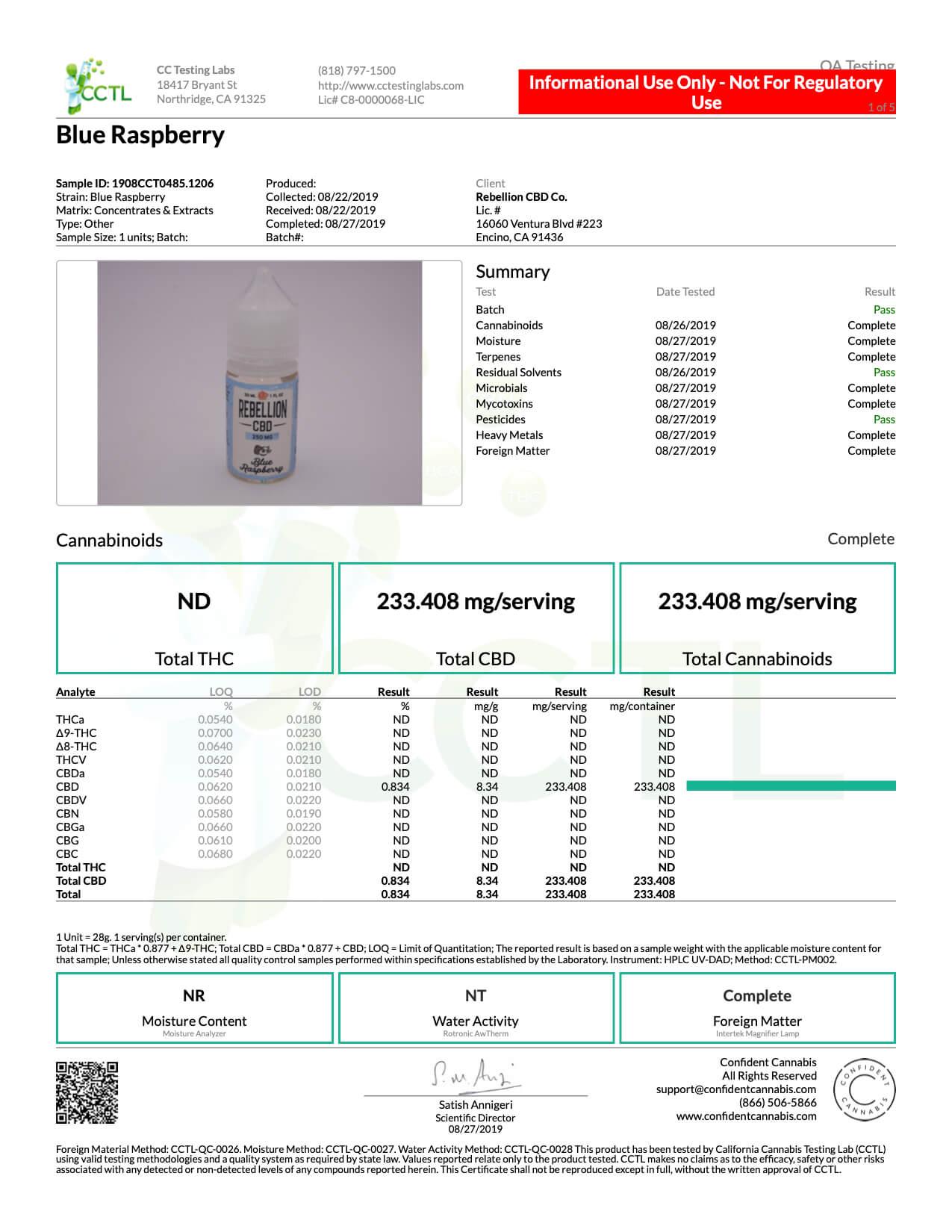 REBELLION CBD Blue Raspberry E-Juice 250mg