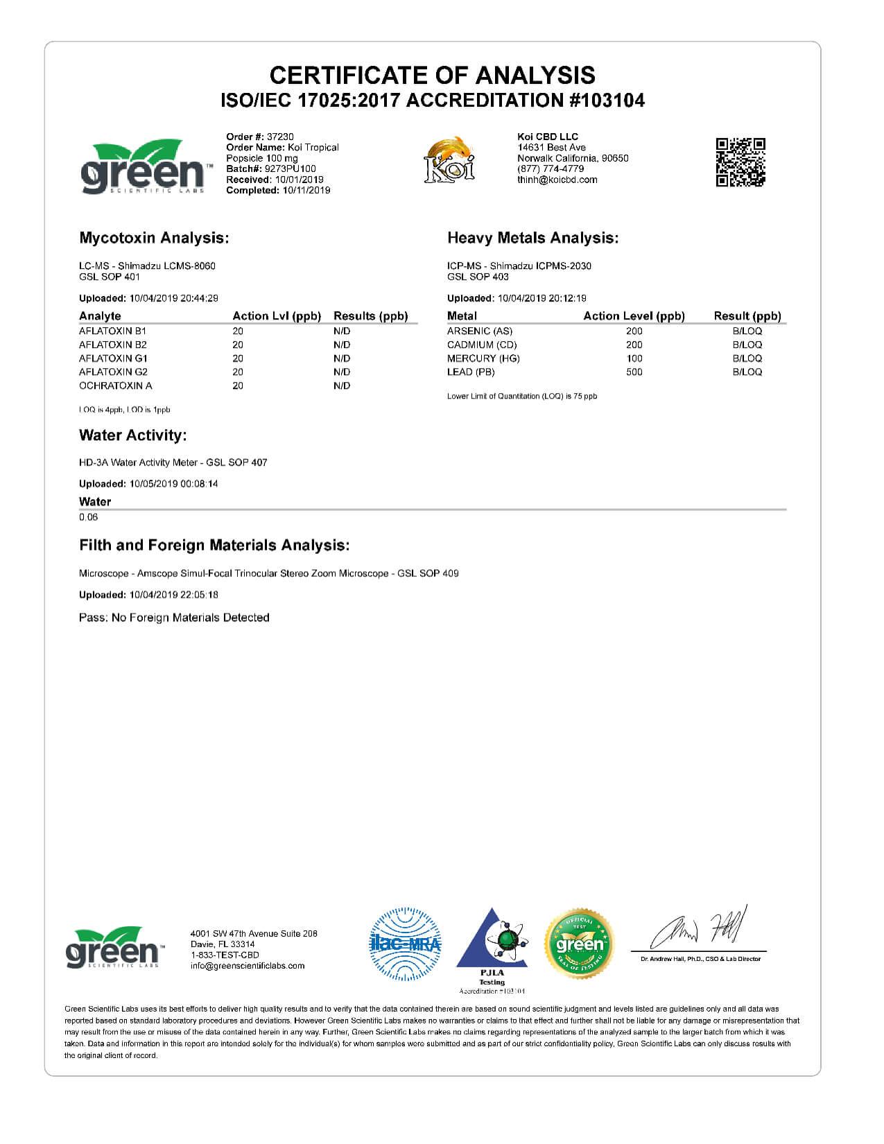 Koi CBD Tropical Popsicle Vape Oil 100mg page6