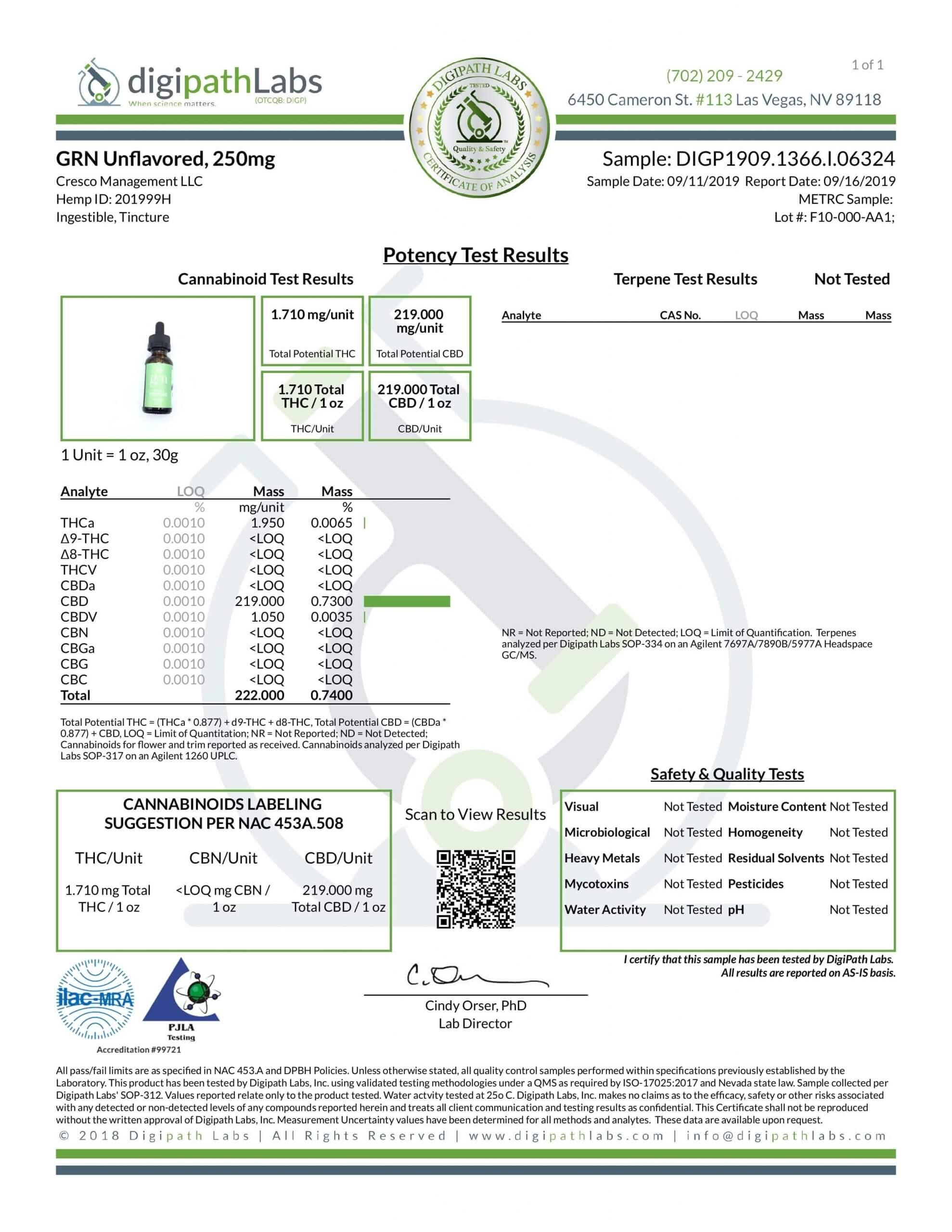 GRN CBD Oil Tincture Unflavored Lab Report Broad Spectrum 250mg
