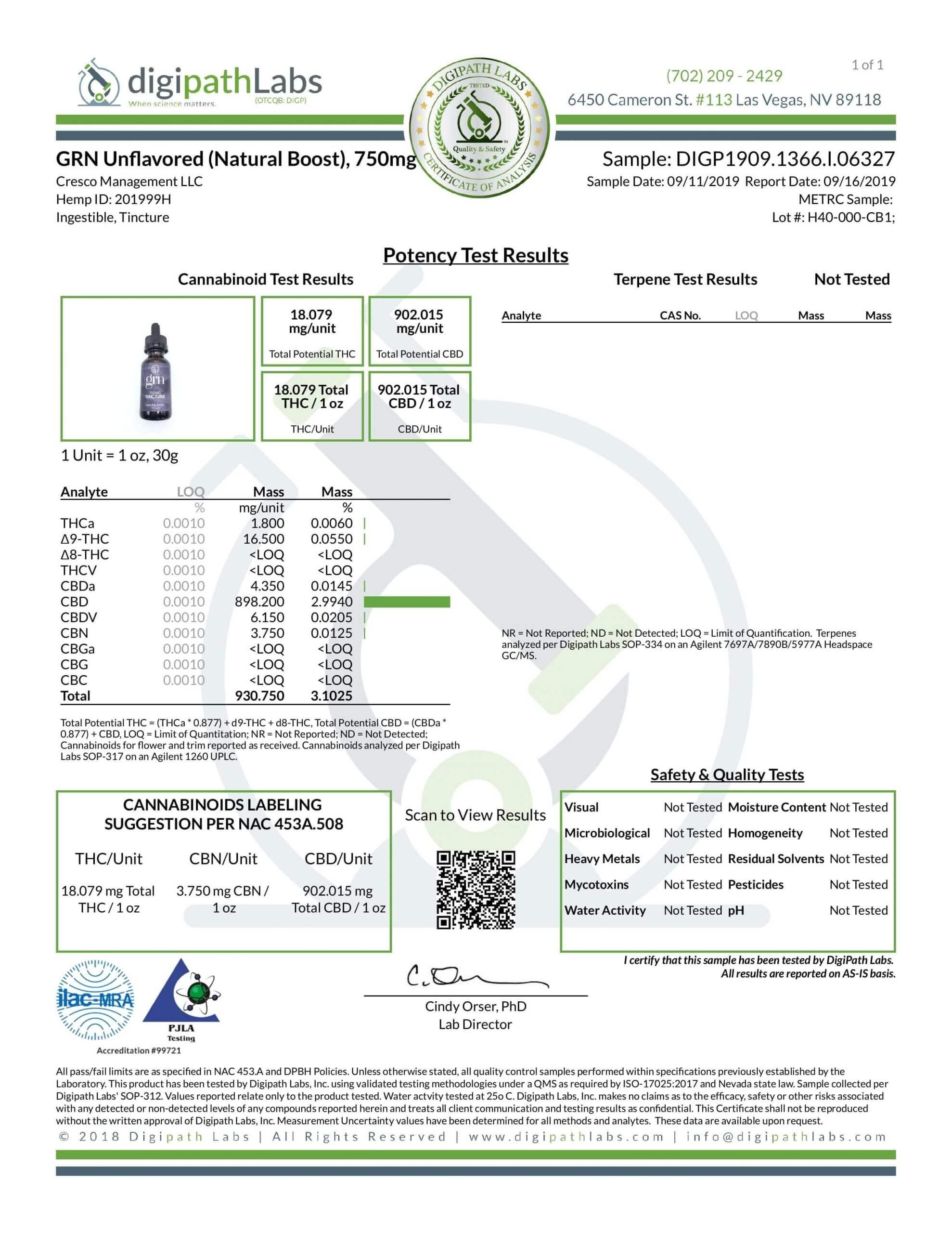GRN CBD Oil Tincture Unflavored Lab Report Full Spectrum 750mg