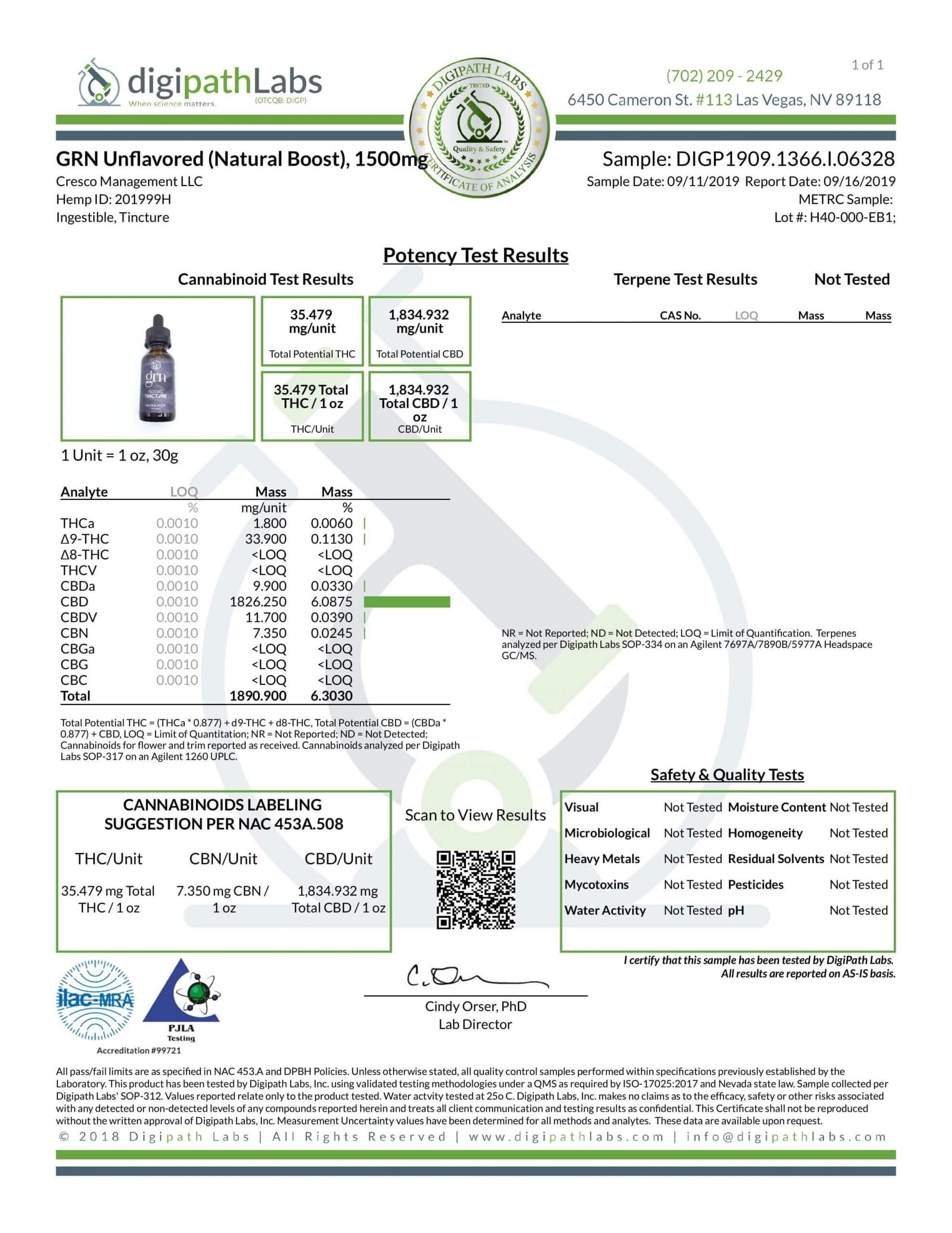GRN CBD Oil Tincture Unflavored Lab Report Full Spectrum 1500mg