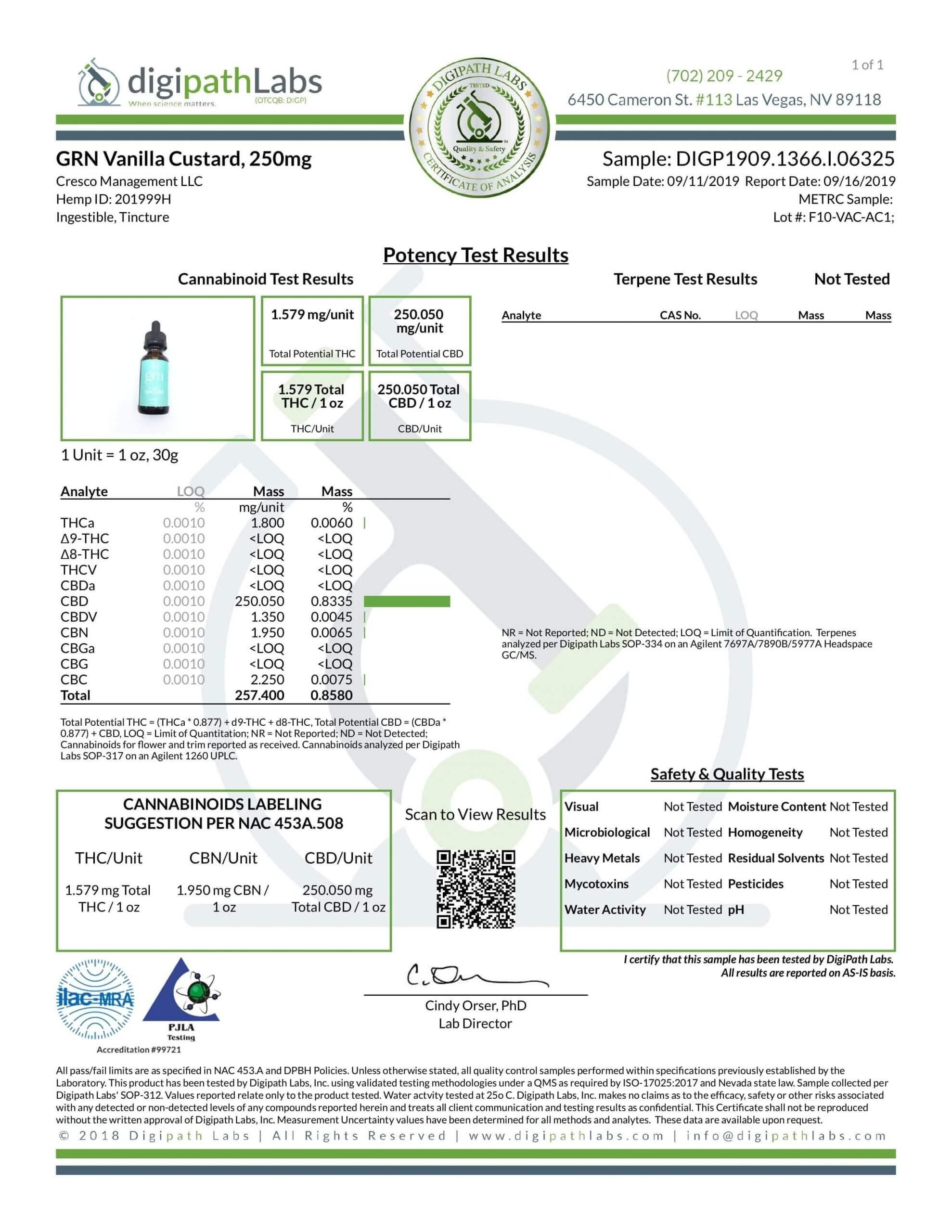 GRN CBD Oil Tincture Vanilla Lab Report Broad Spectrum 250mg