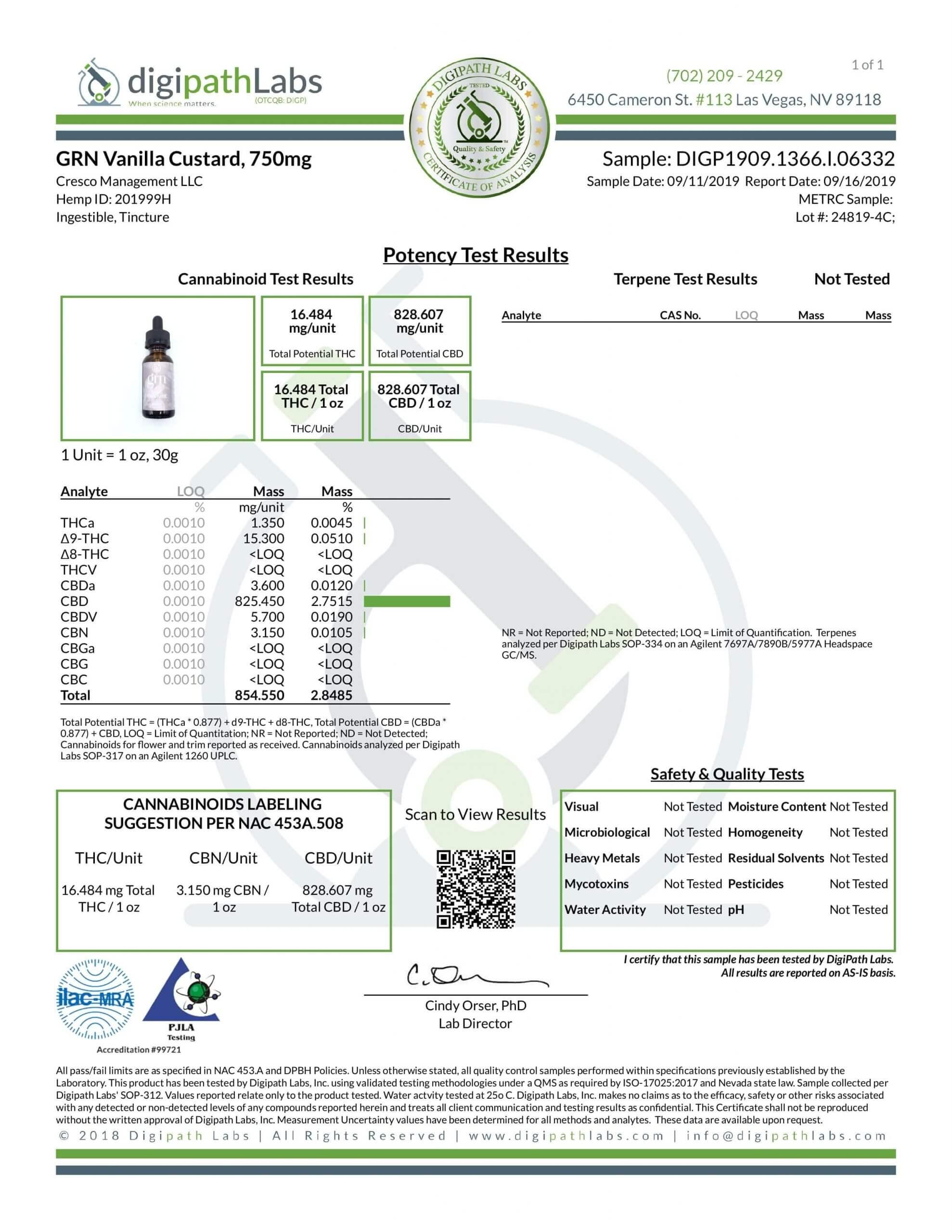 GRN CBD Oil Tincture Vanilla Lab Report Full Spectrum 750mg