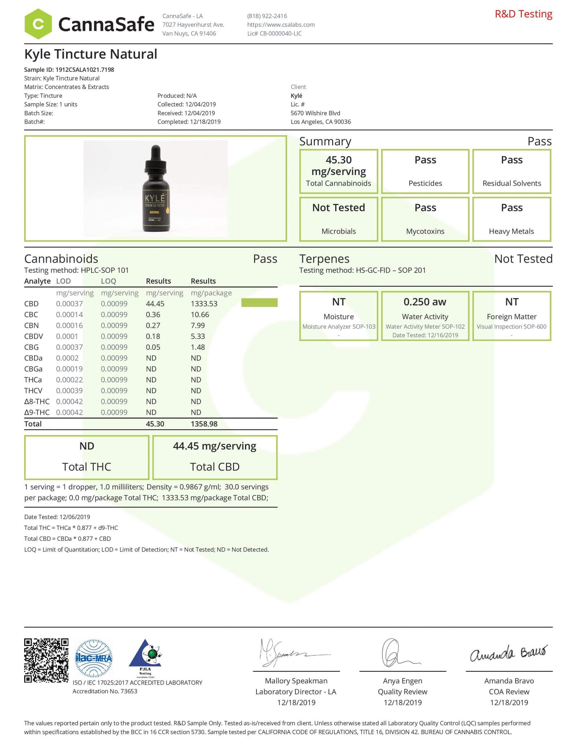 KYLE CBD Gold Natural Drop Lab Report Tincture Oil 1000mg
