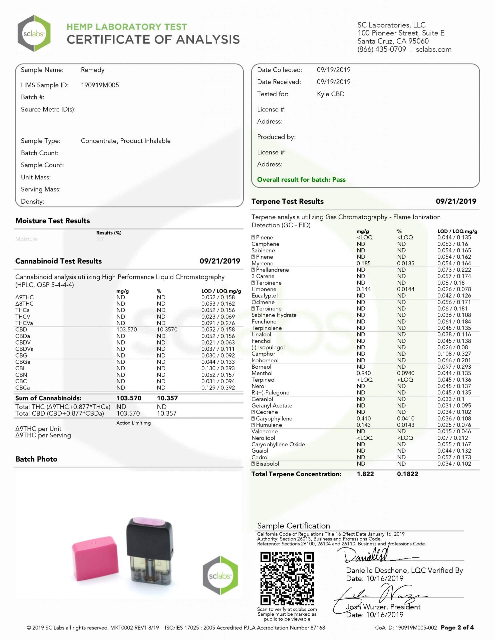 KYLE CBD Pods Remedy Lab Report