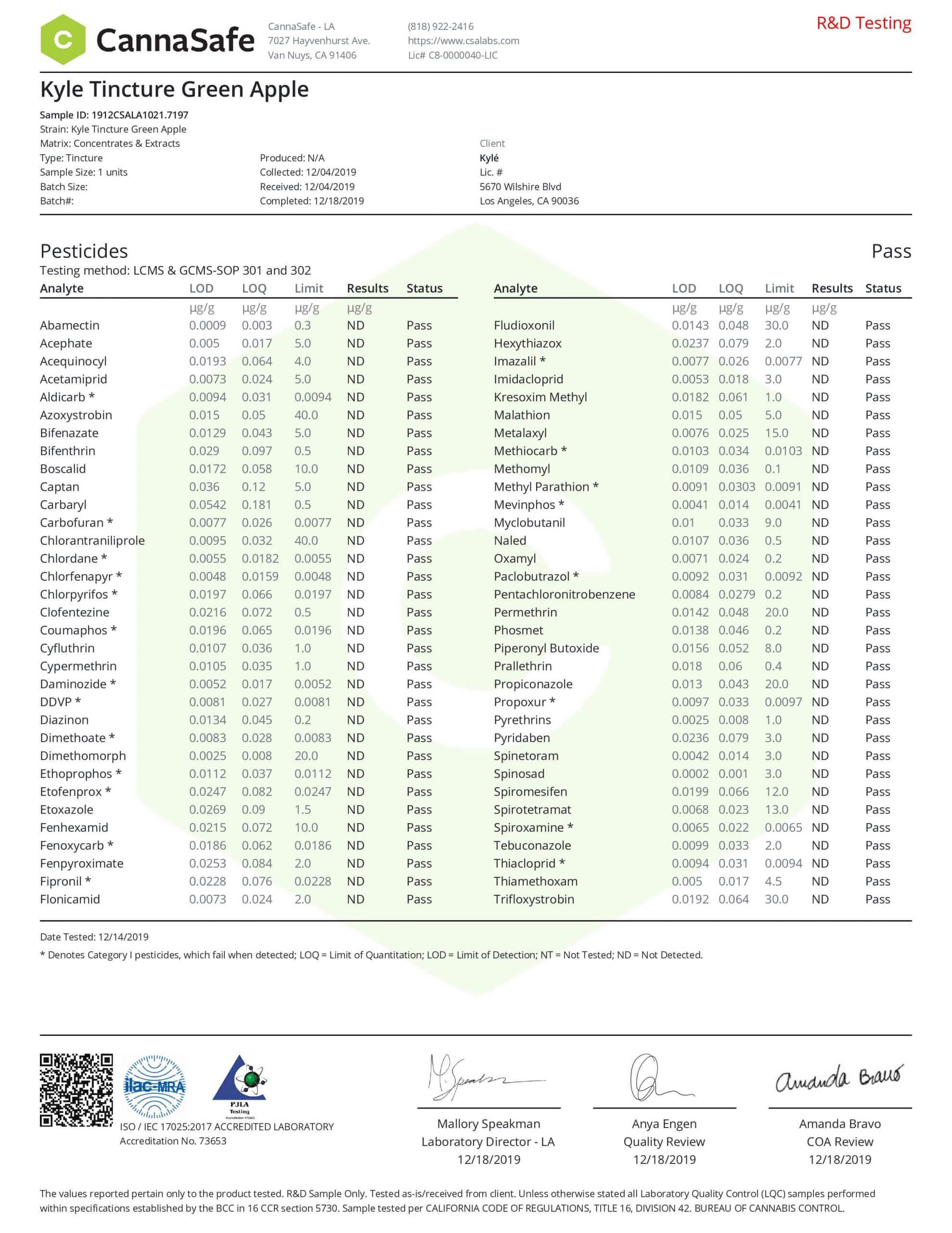 KYLE CBD Gold Green Apple Drop Lab Report Tincture Oil 1000mg