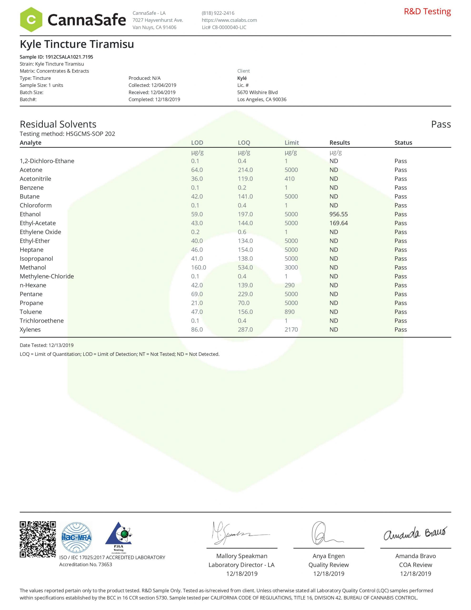 KYLE CBD Gold Tiramisu Drop Lab Report Tincture Oil 1000mg
