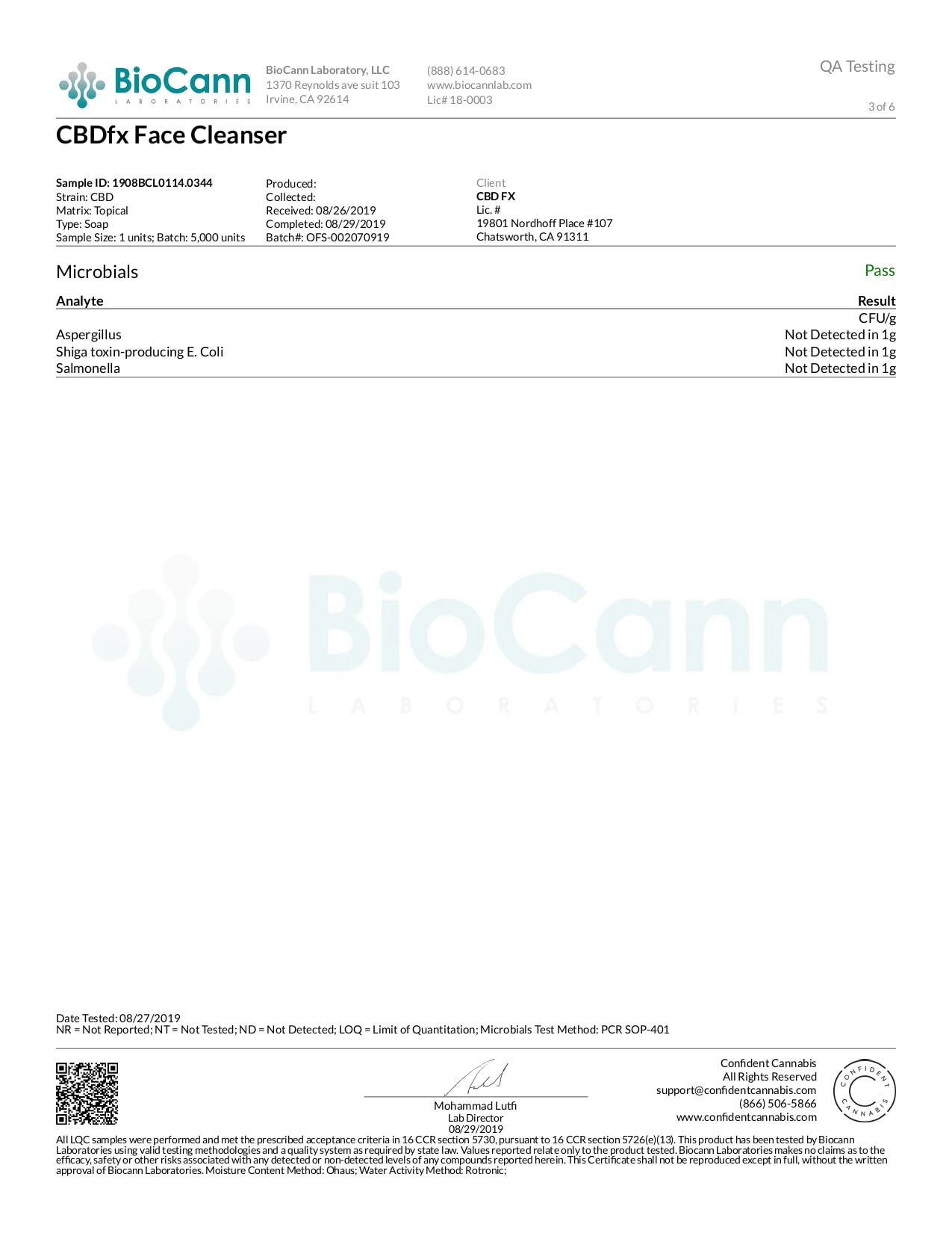 CBDfx CBD Face Cleanser Rejuvediol Lab Report Broad Spectrum 50mg