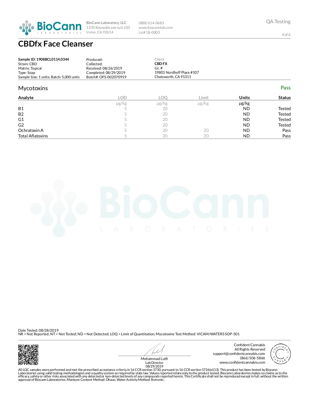 CBDfx CBD Face Cleanser Rejuvediol Lab Report Broad Spectrum 50mg