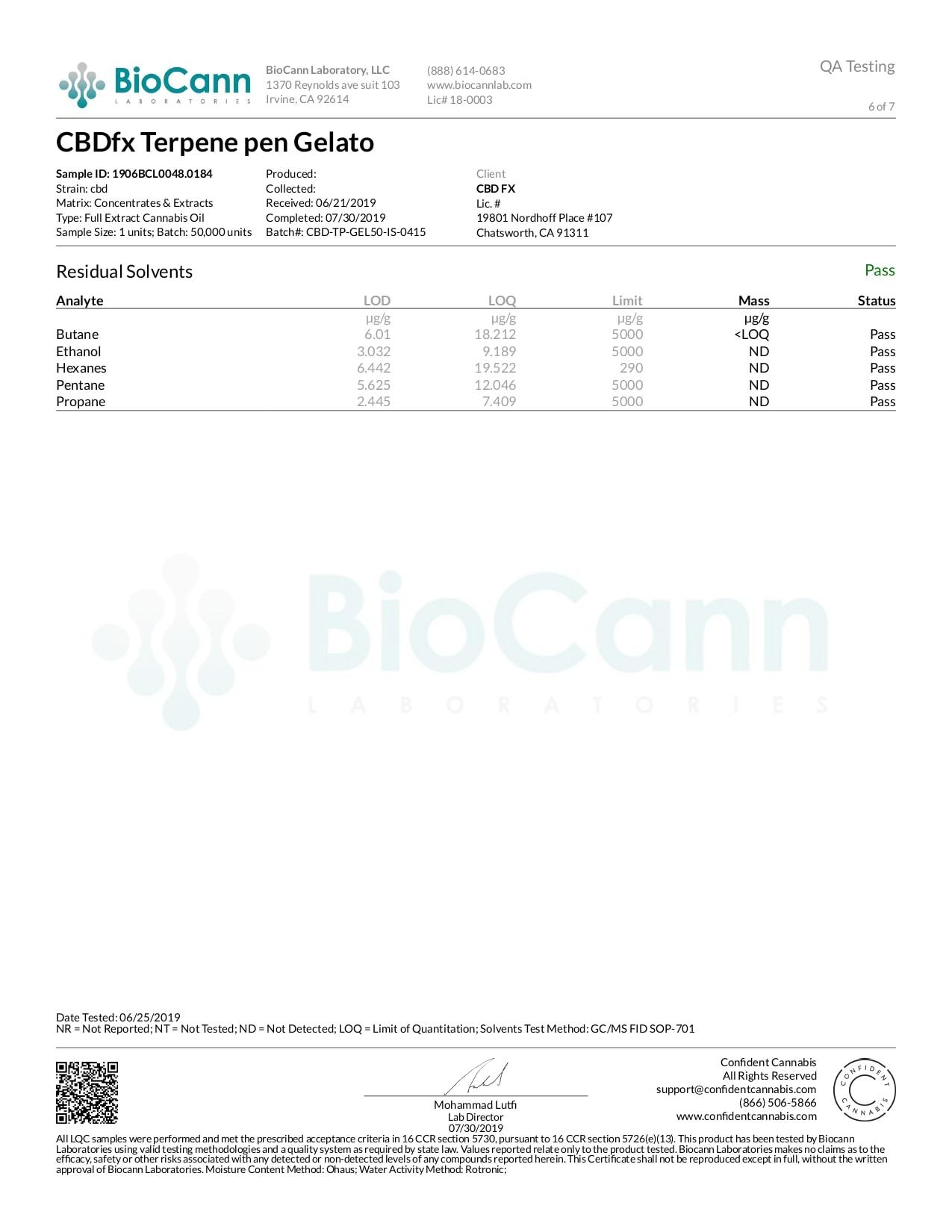 CBDfx Gelato Lab Report CBD Terpenes Vape Pen 50mg