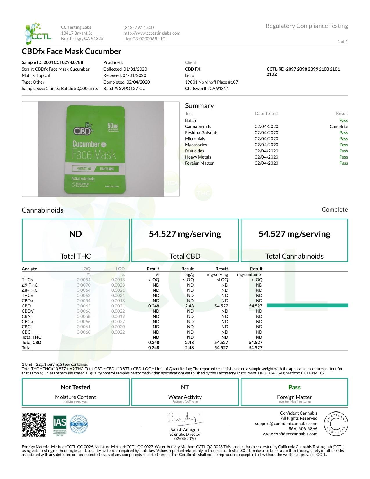 CBDfx CBD Cucumber Face Mask Lab Report Broad Spectrum 50mg