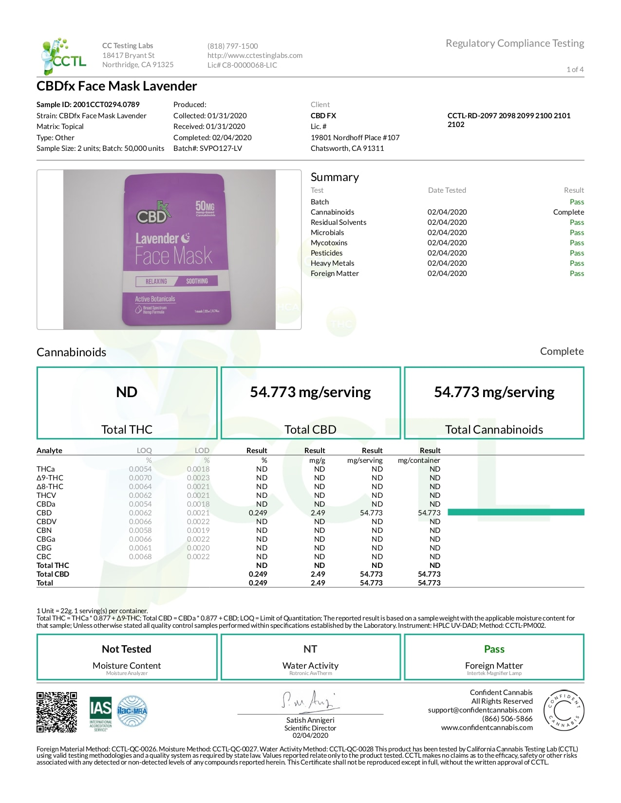 CBDfx CBD Lavender Face Mask Lab Report Broad Spectrum 50mg