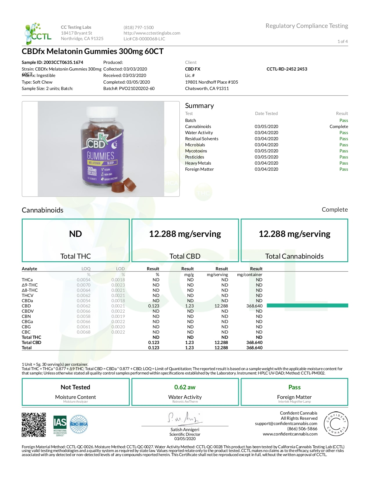 CBDfx CBD Gummies For Sleep With Melatonin Lab Report Broad Spectrum 300mg