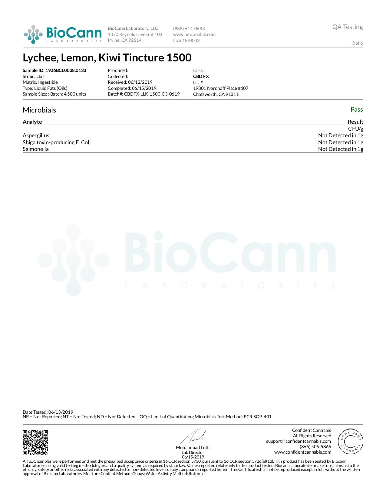 CBDfx Lychee Lemon Kiwi Lab Report CBD Oil Tincture 1500mg