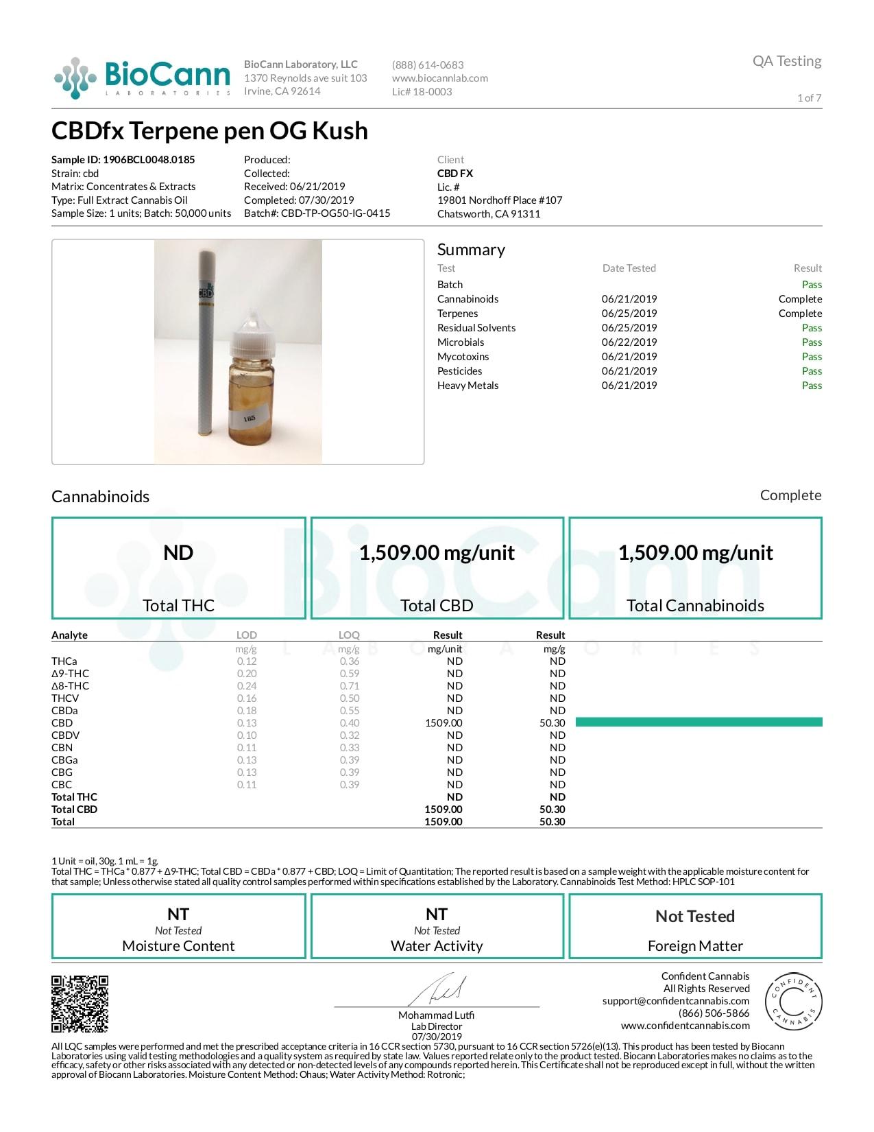 CBDfx OG Kush Lab Report CBD Terpenes Vape Pen 50mg