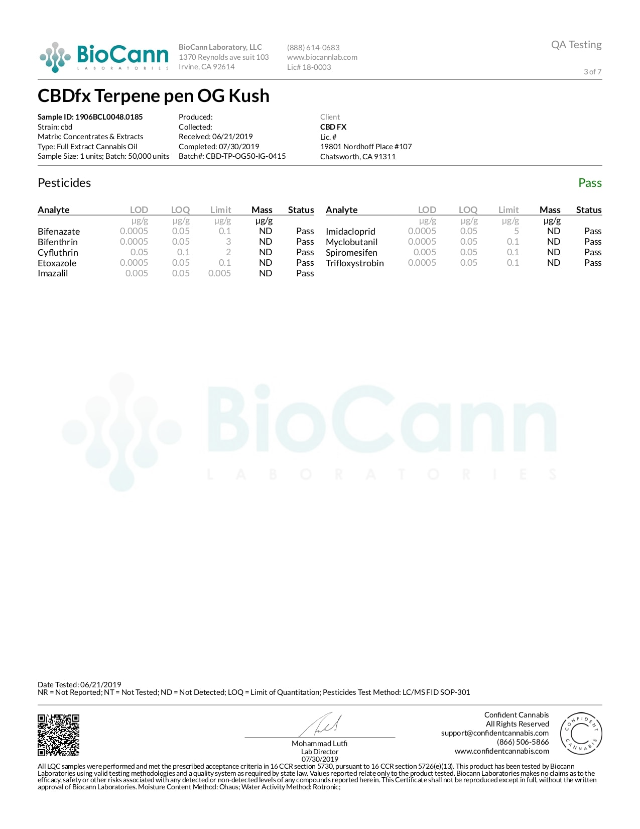 CBDfx OG Kush Lab Report CBD Terpenes Vape Pen 50mg