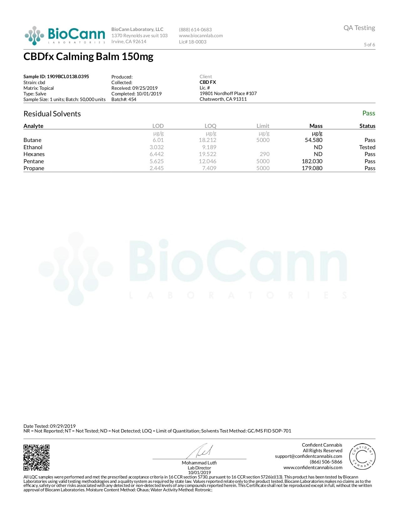 CBDfx CBD Calming Balm Lab Report Broad Spectrum 150mg