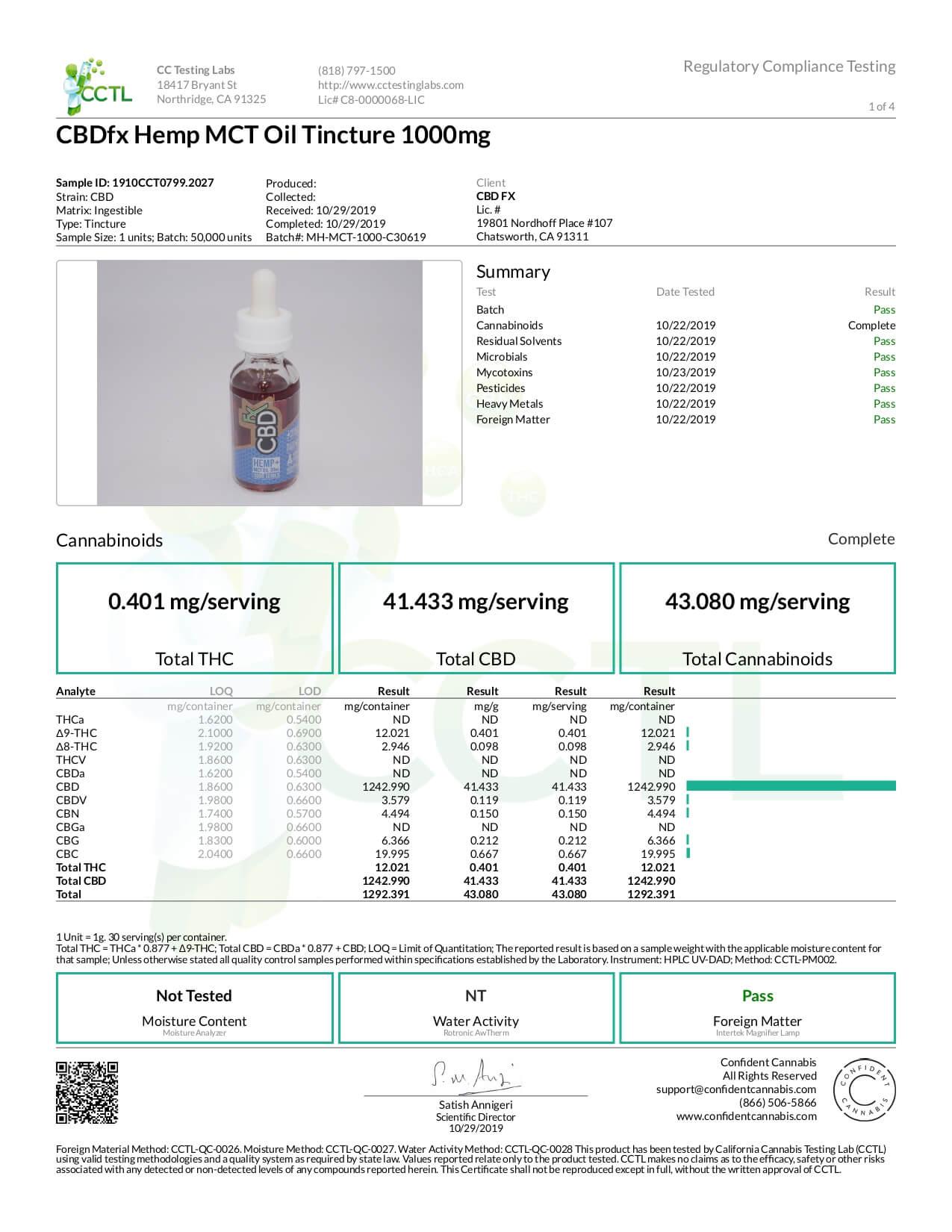 CBDfx CBD Tincture Oil Lab Report Full Spectrum 1000mg