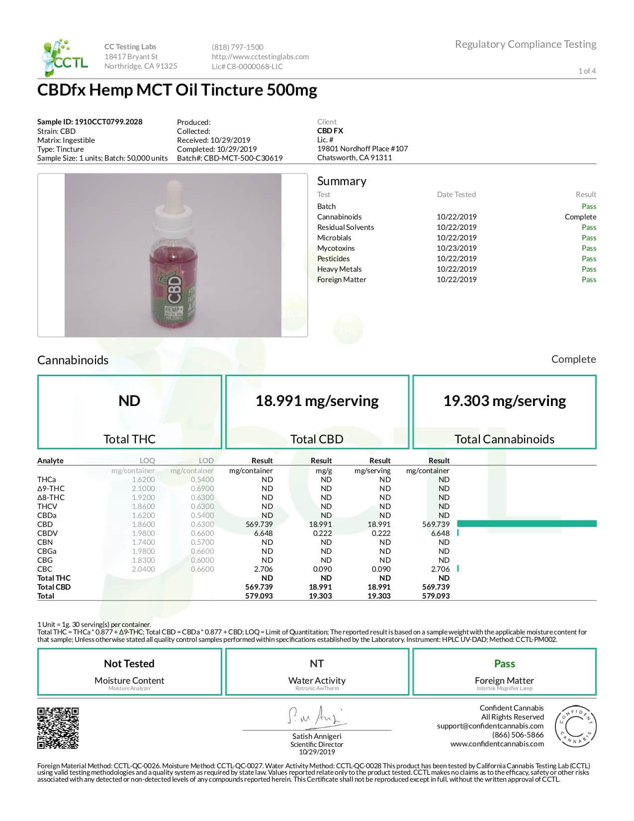 CBDfx CBD Tincture Oil Lab Report Full Spectrum 500mg