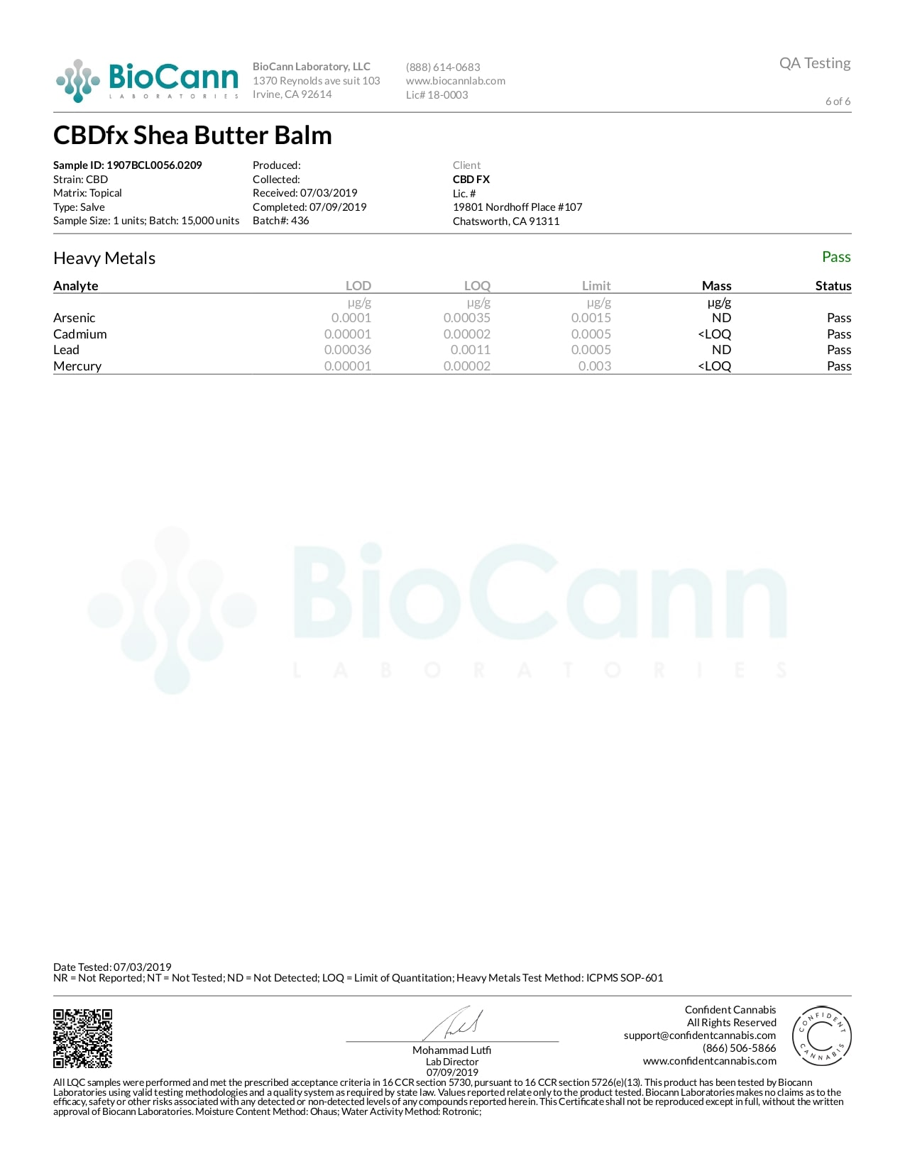CBDfx CBD Balm Lab Report Moisturizing 150mg