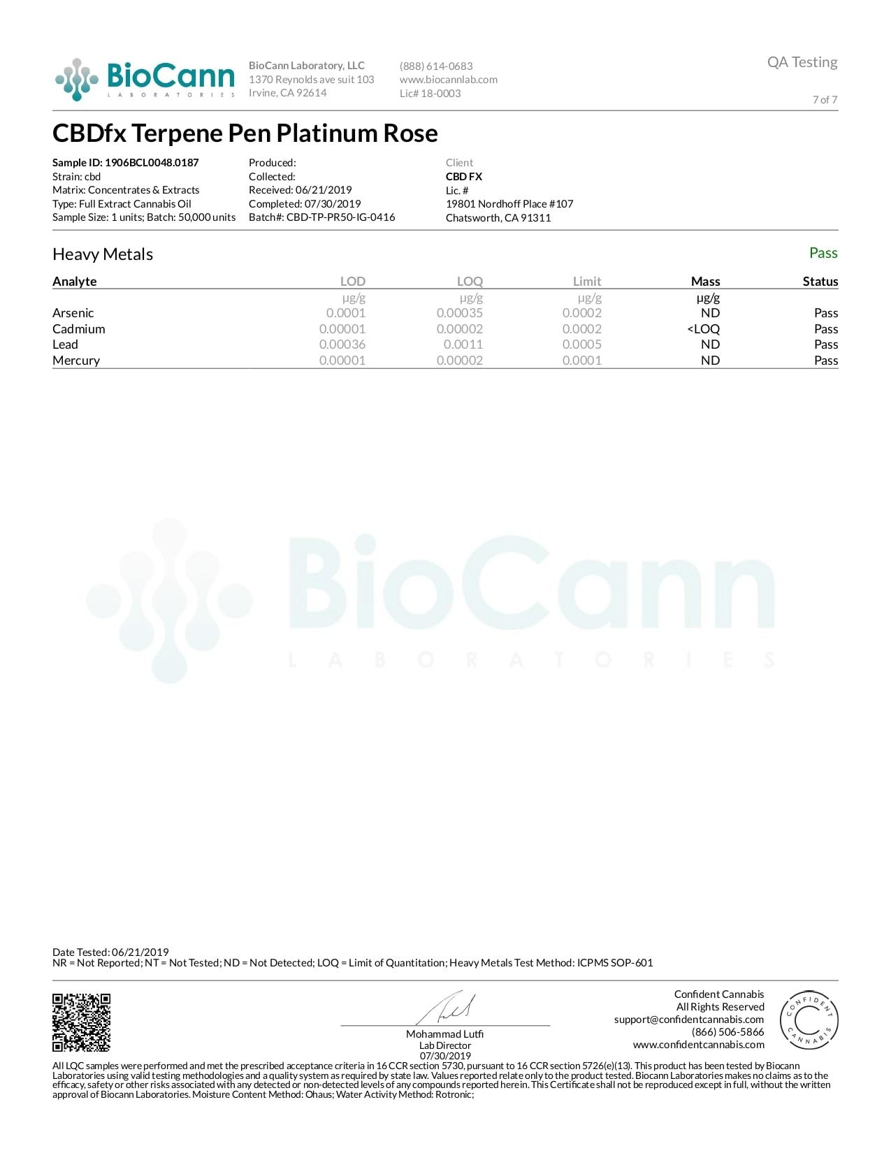 CBDfx Platinum Rose Lab Report CBD Terpenes Vape Pen 50mg