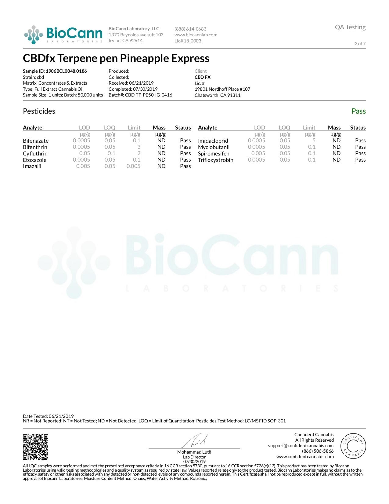 CBDfx Pineapple Express Lab Report | CBD Terpenes Vape Pen 50mg