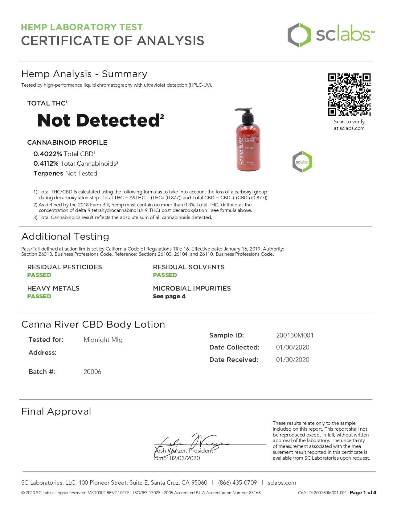 CANNA RIVER CBD Daily Body Lotion Lab Report Broad Spectrum