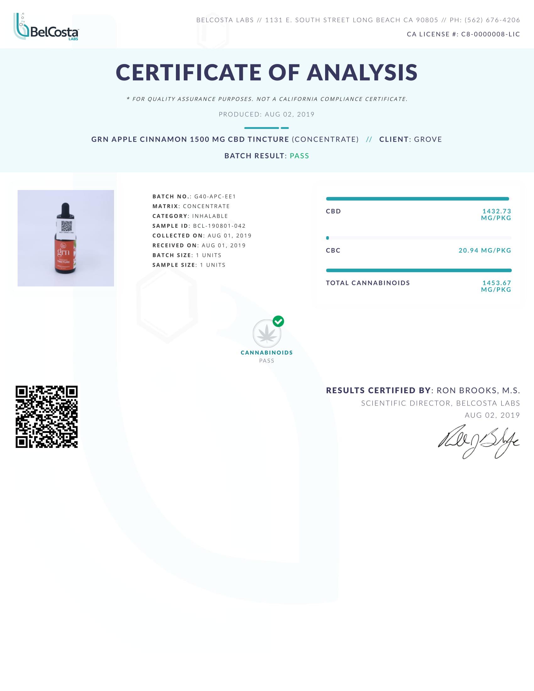 GRN CBD Oil Tincture Apple Cinnamon Lab Report Broad Spectrum 1500mg