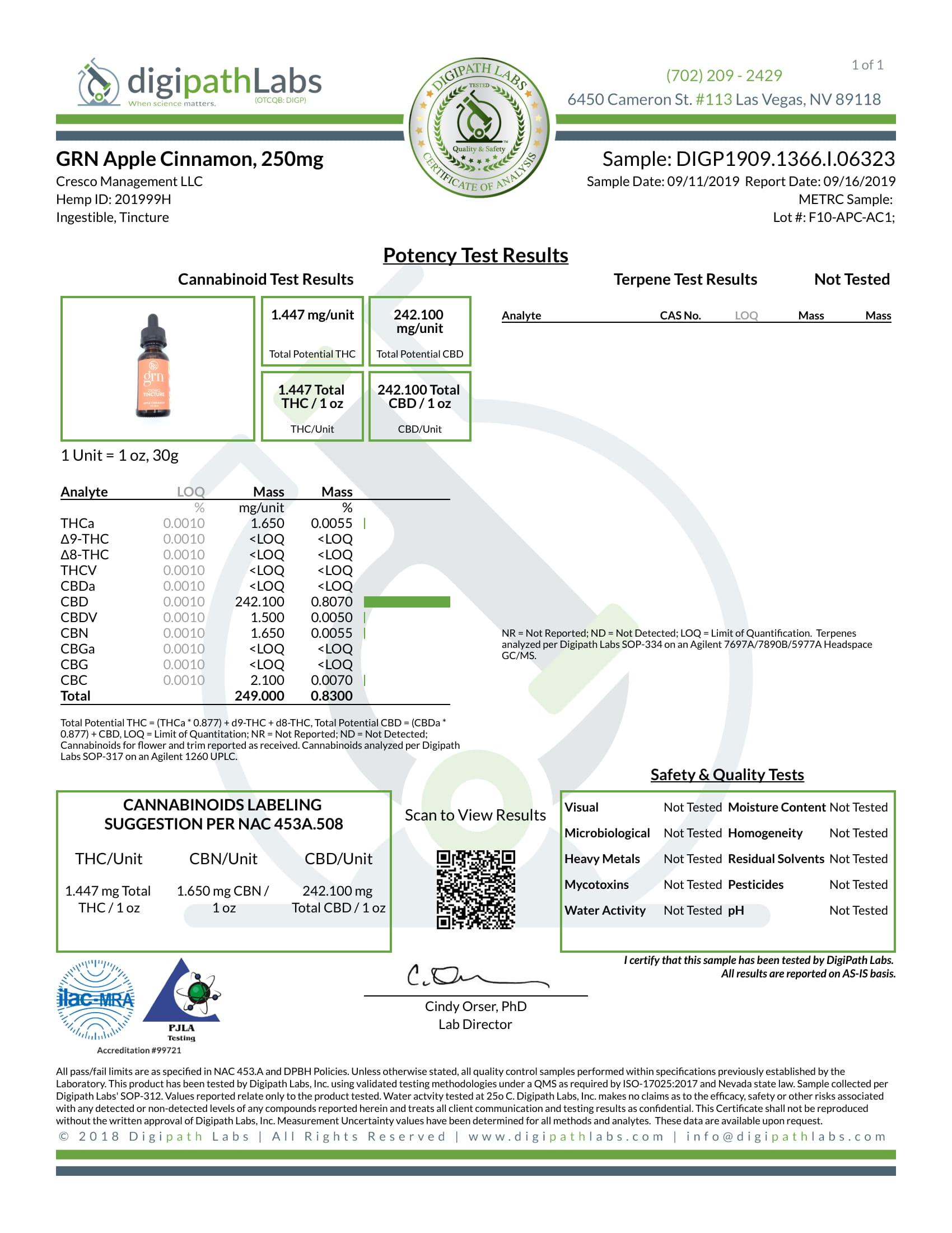 GRN CBD Oil Tincture Apple Cinnamon Lab Report Broad Spectrum 250mg