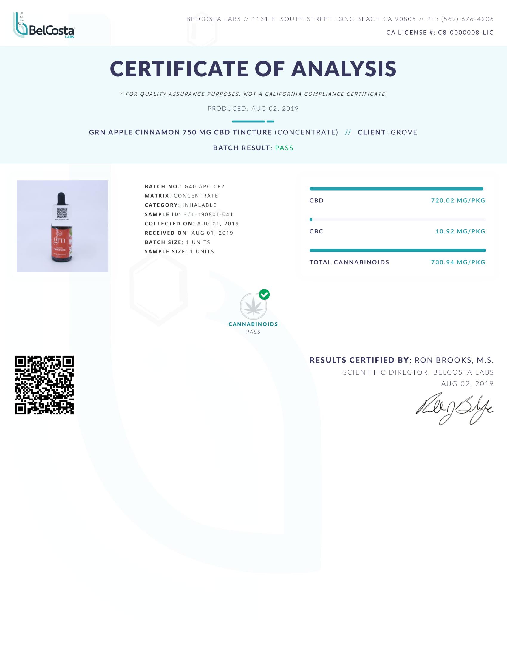 GRN CBD Oil Tincture Apple Cinnamon Lab Report Broad Spectrum 750mg