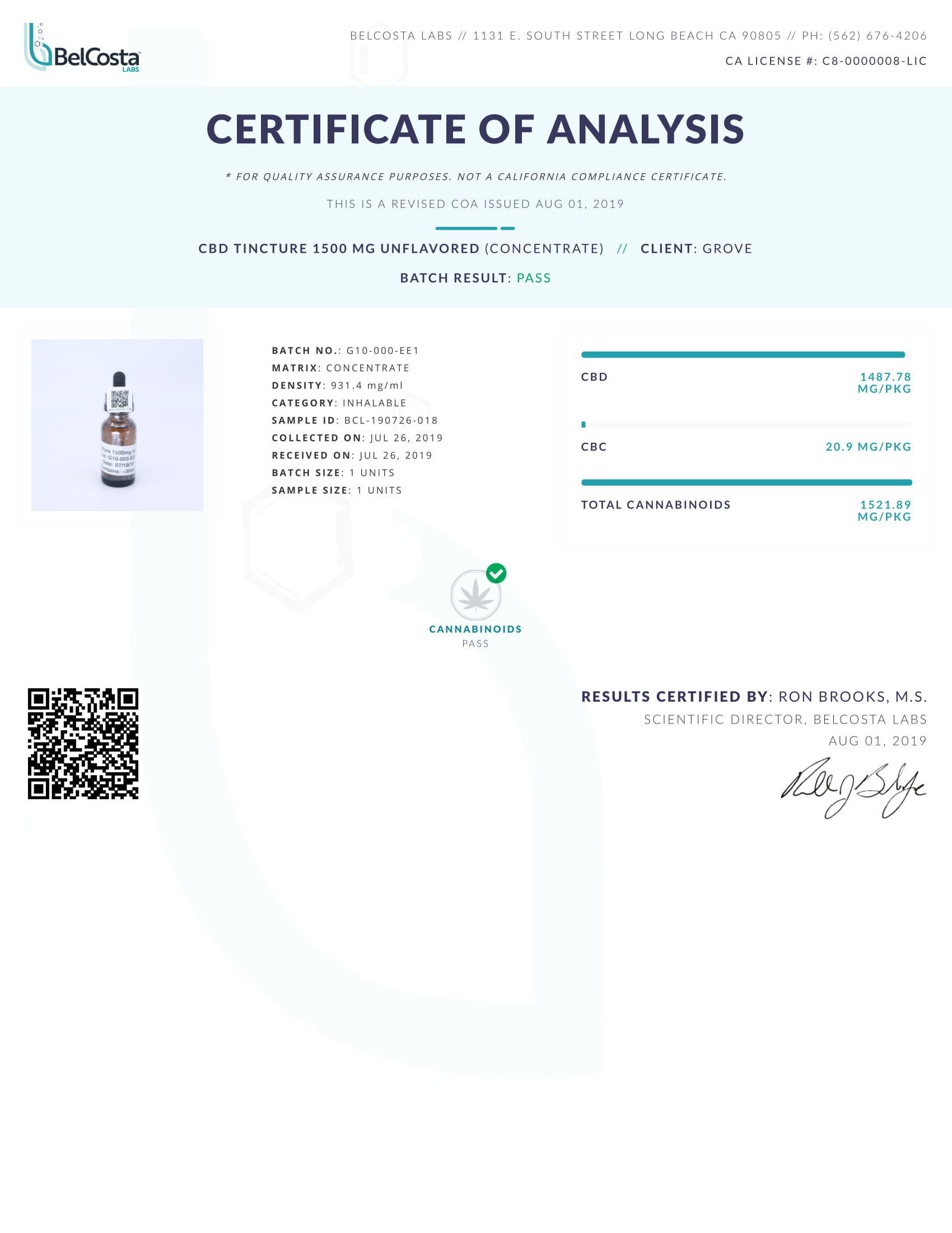 GRN CBD Oil Tincture Unflavored Lab Report Broad Spectrum 1500mg