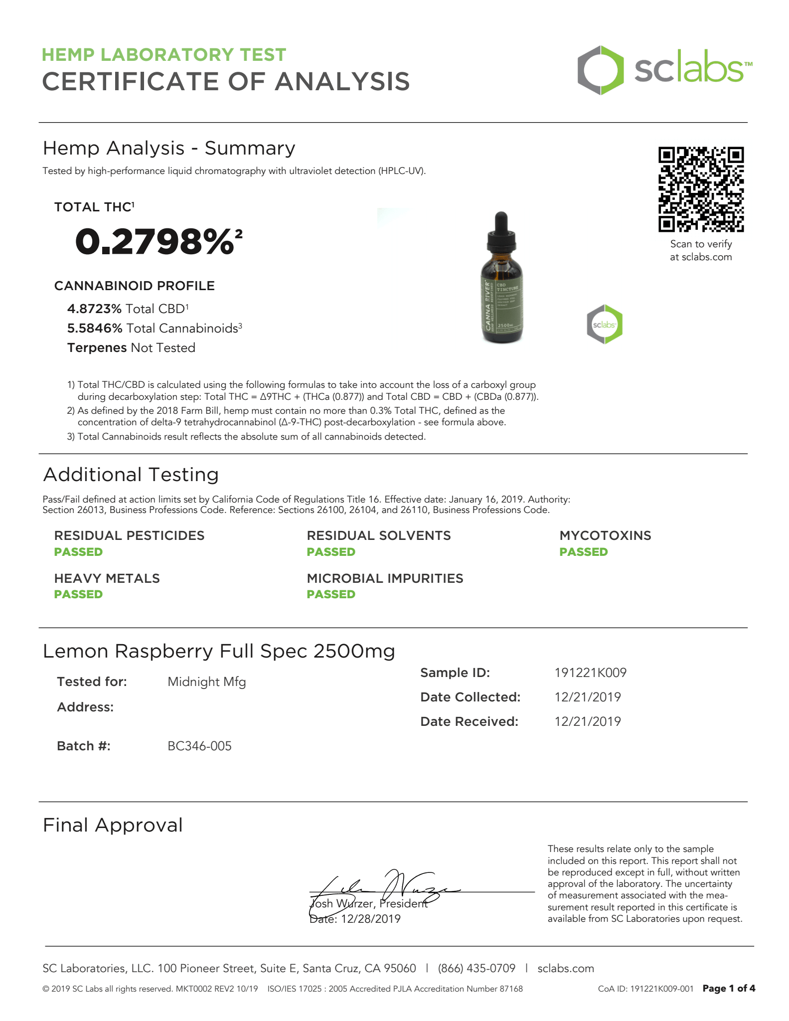 CANNA RIVER CBD Tincture Lab Report Full Spectrum Lemon Raspberry 2500mg