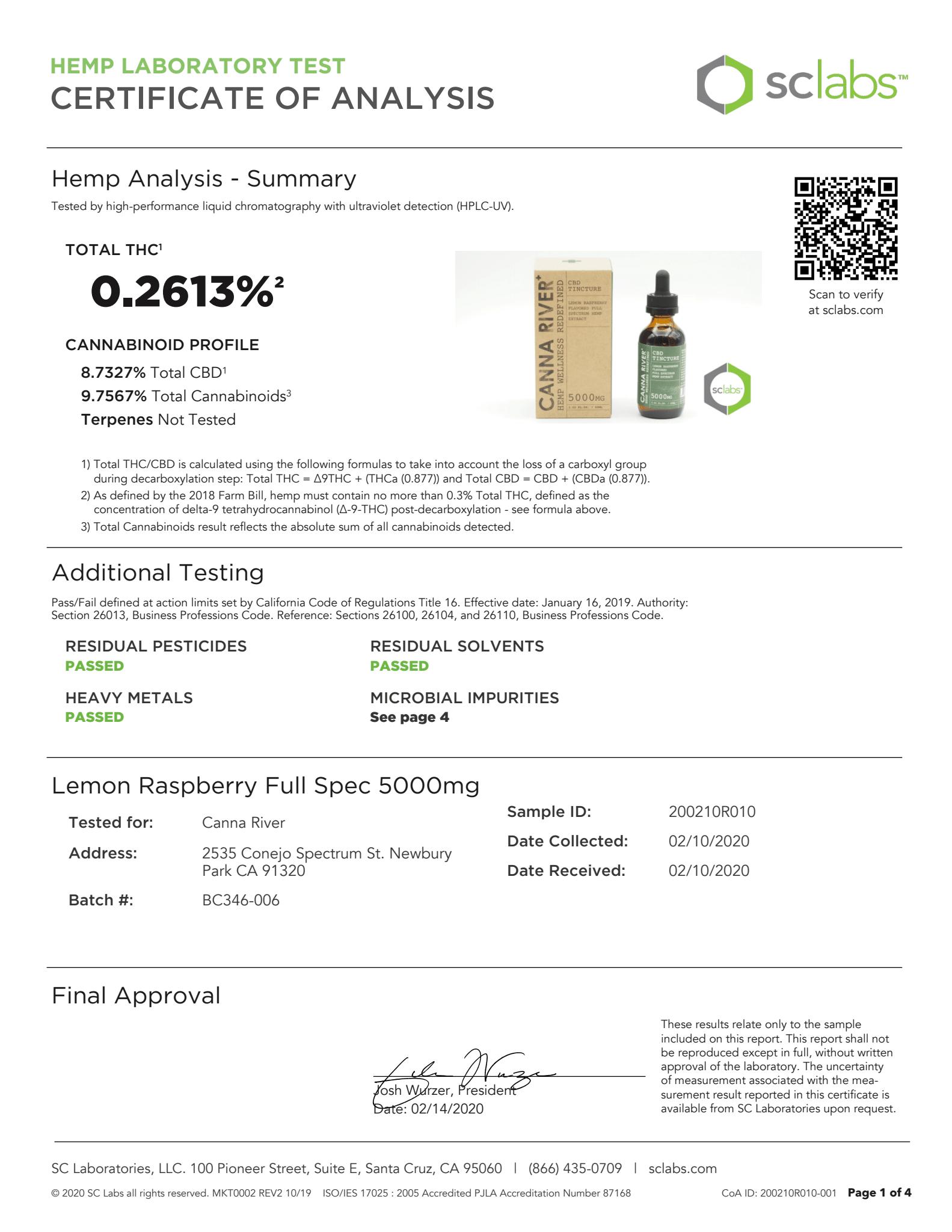 CANNA RIVER CBD Tincture Lab Report Full Spectrum Lemon Raspberry 5000mg
