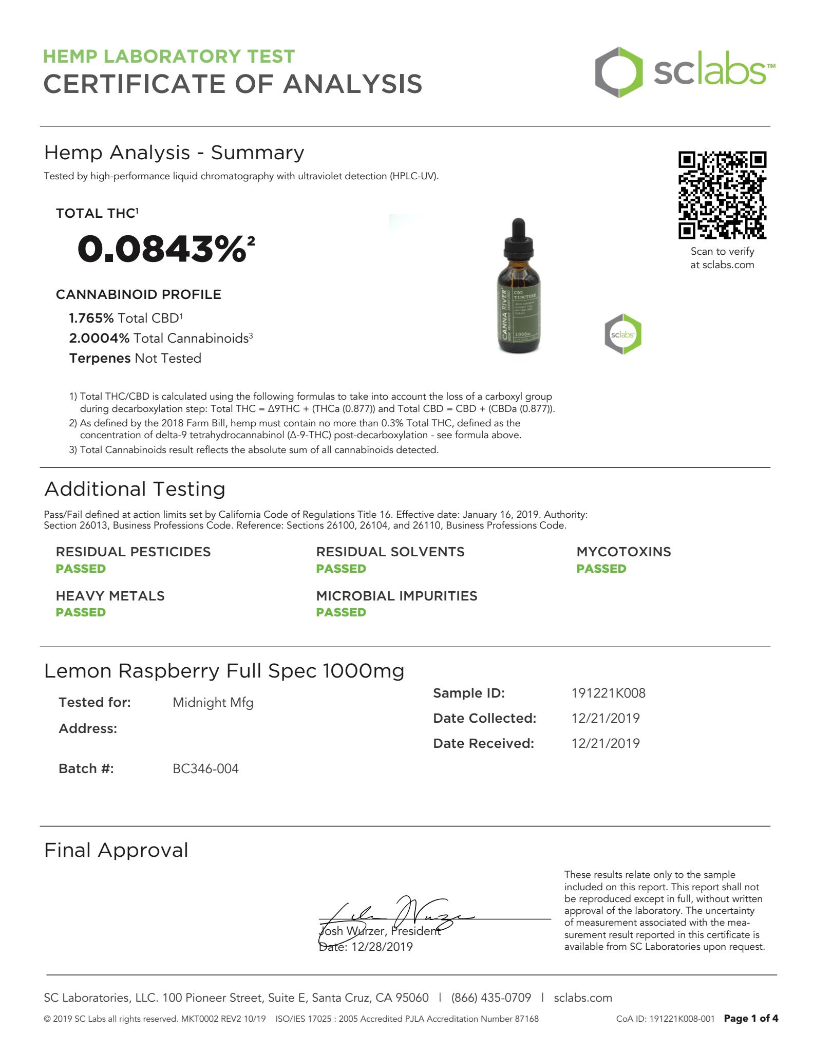 CANNA RIVER CBD Tincture Lab Report Full Spectrum Lemon Raspberry 1000mg