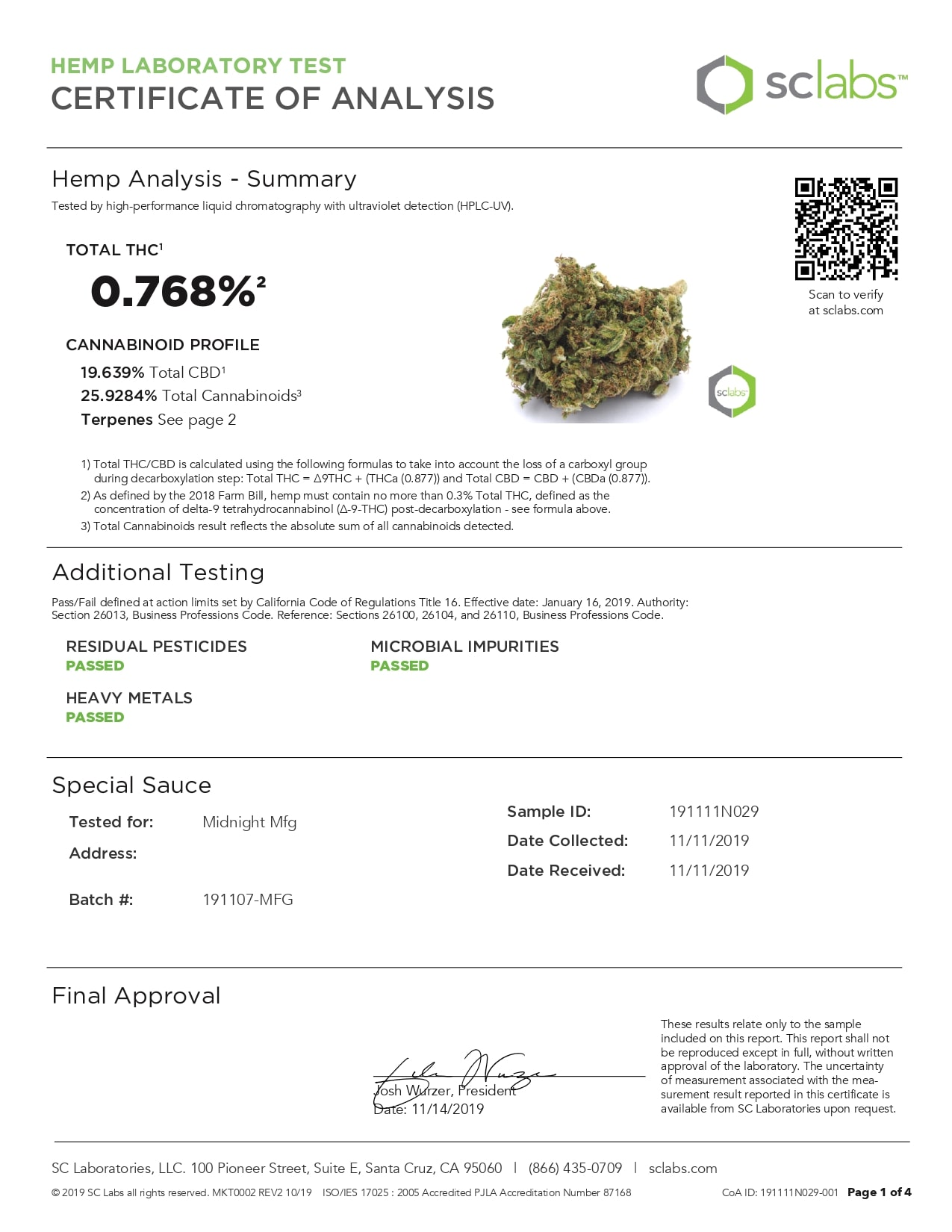 CANNA RIVER CBD Special Sauce Lab Report Hemp Flower