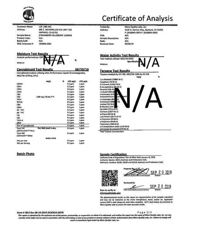 BIONATRL Strawberry Blueberry Lab Report CBD Tincture 30ml