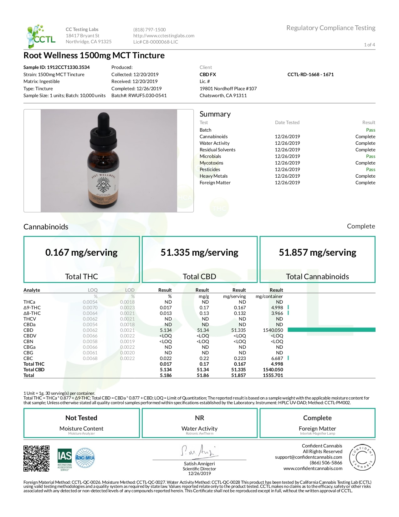 Root Wellness Raw CBD Tincture Lab Report Full Spectrum 1500mg