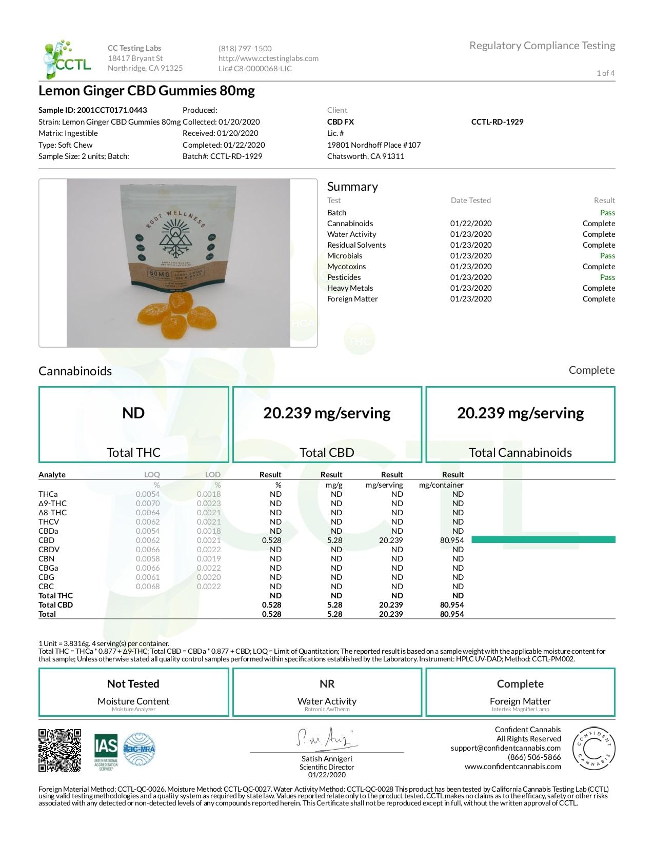 Root Wellness CBD Gummy Lemon Ginger Lab Report