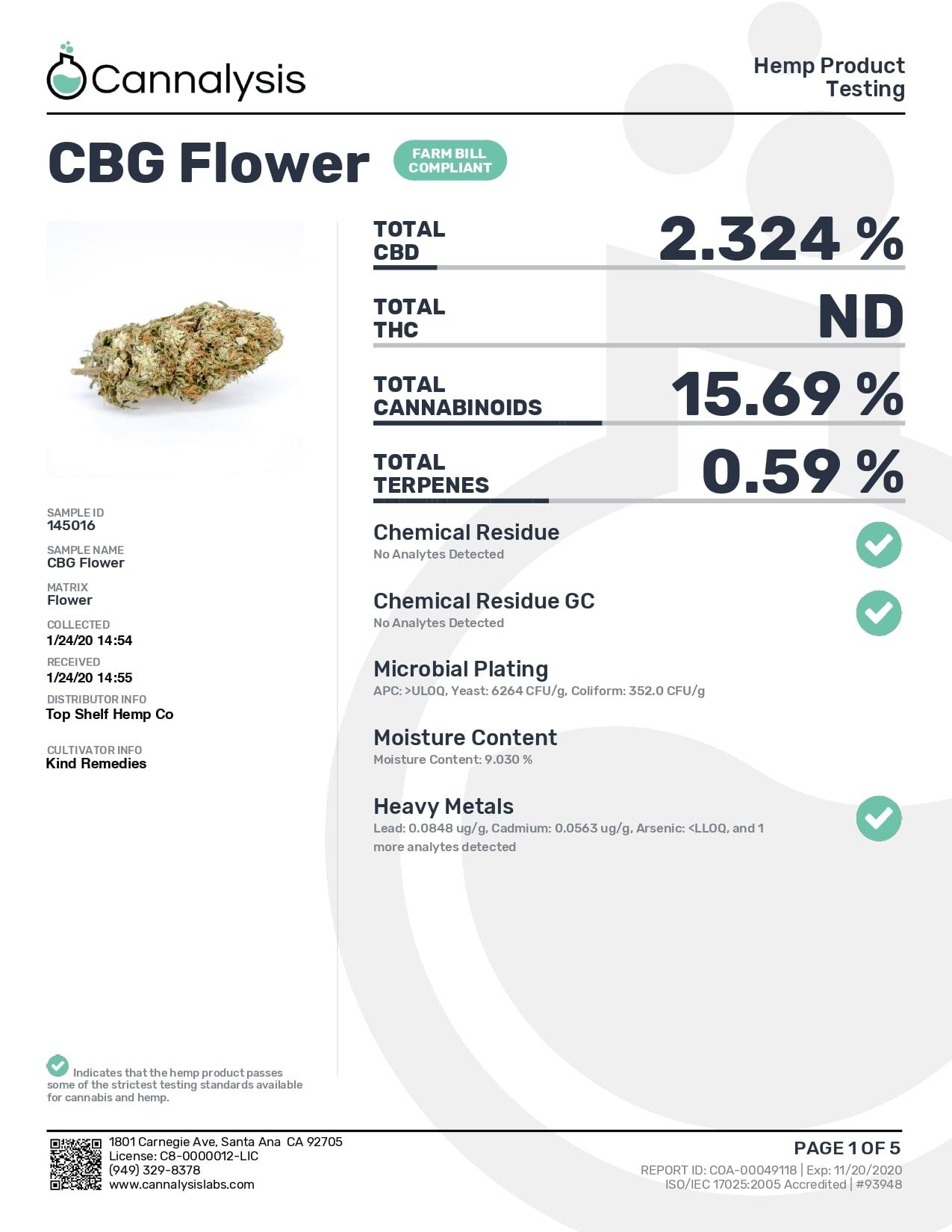 Root Wellness Hemp CBG Bud Bag 4g Lab Report