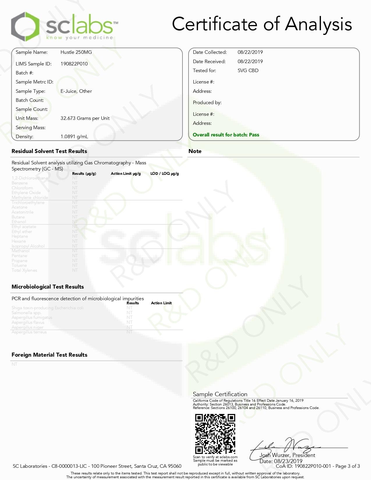 SAVAGE Hustle CBD Vape Juice 500mg Lab Report
