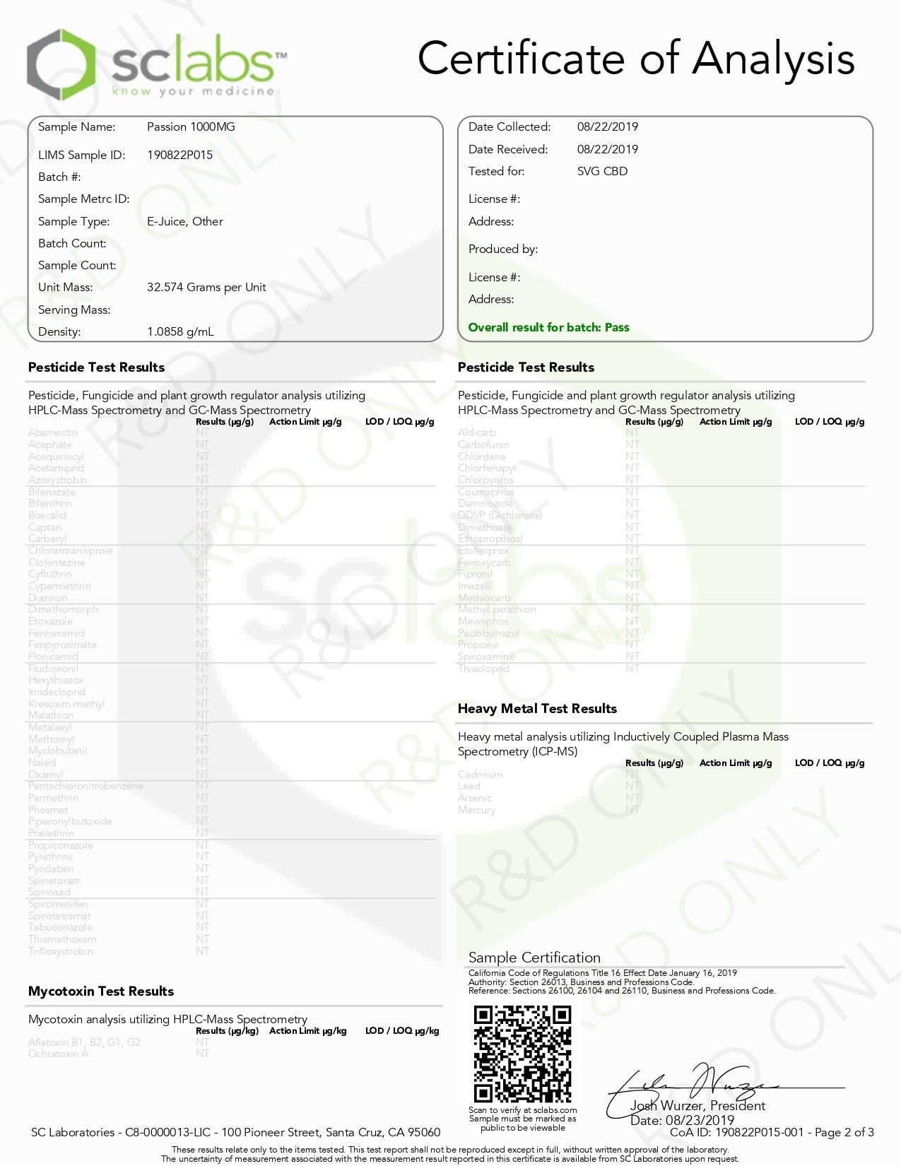 SAVAGE Passion CBD Vape Juice 1000mg Lab Report