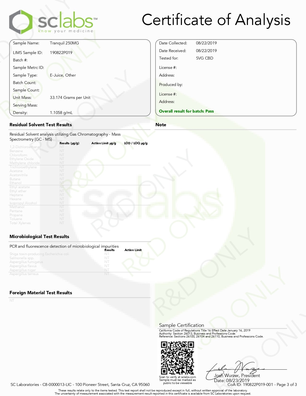 SAVAGE Tranquil CBD Vape Juice 250mg Lab Report