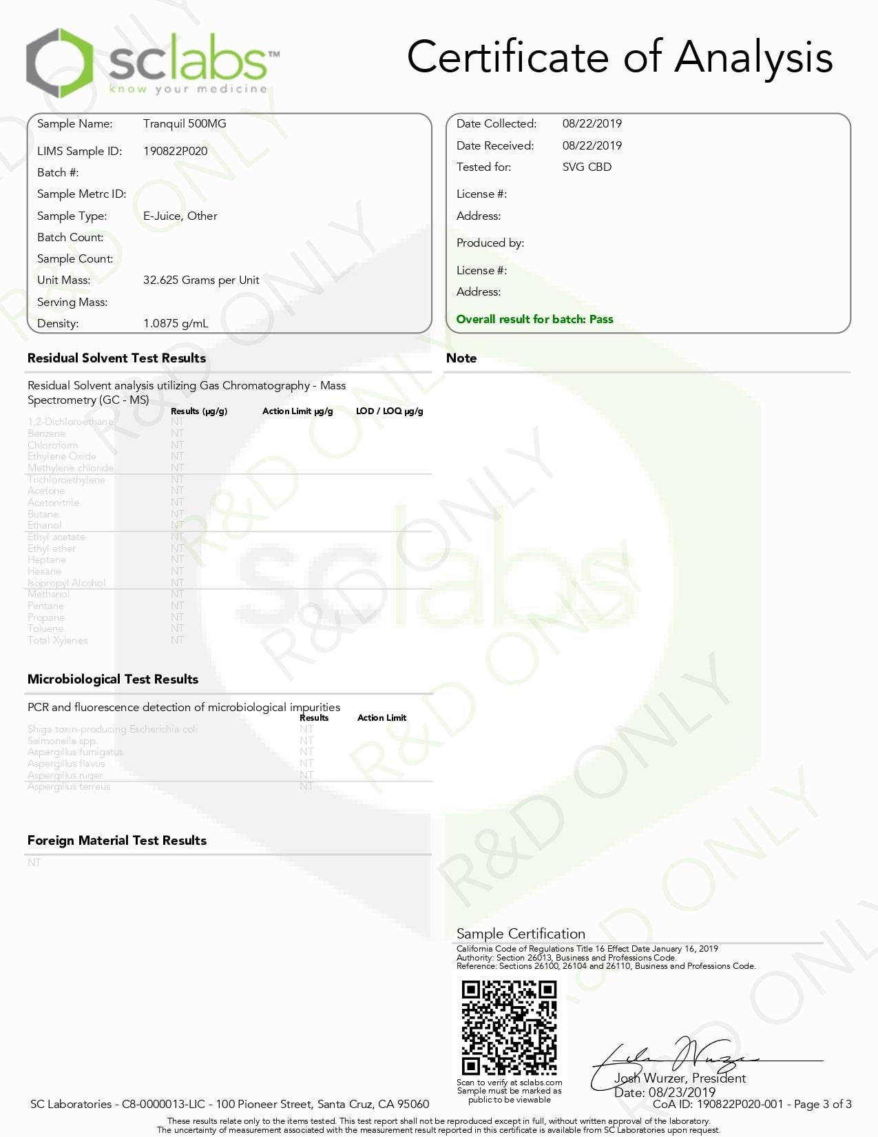 SAVAGE Tranquil CBD Vape Juice 500mg Lab Report