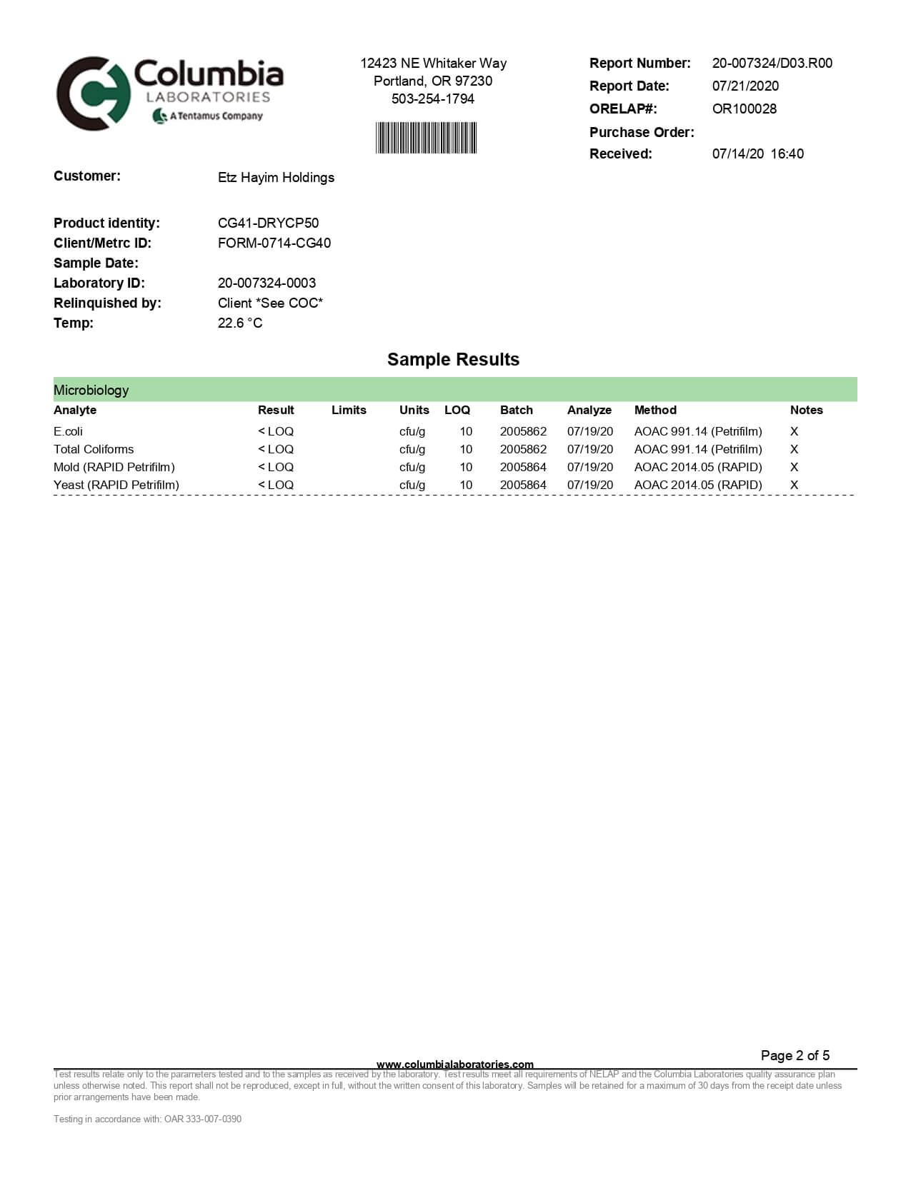 Lazarus Naturals Full Spectrum CBD Capsules 50mg Lab Report