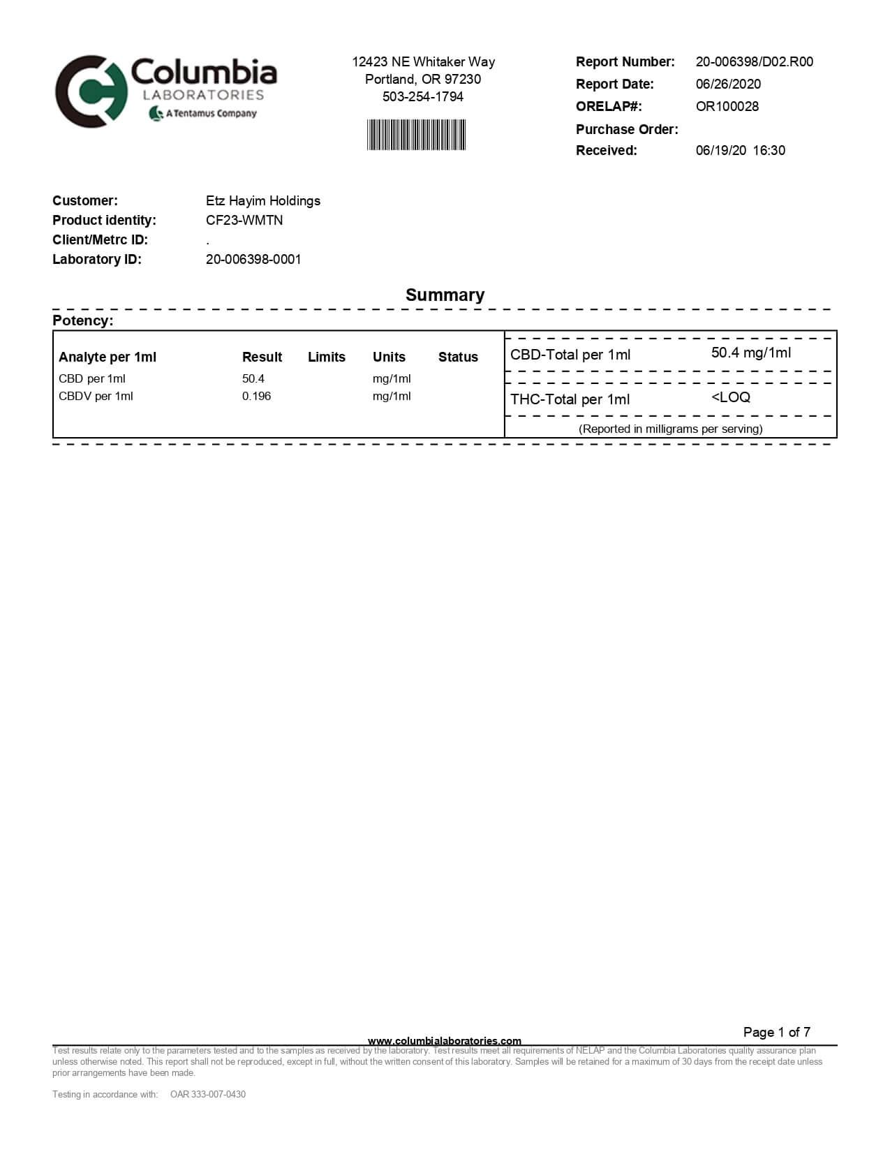 Lazarus Naturals High Potency CBD Tincture Wintermint Lab Report