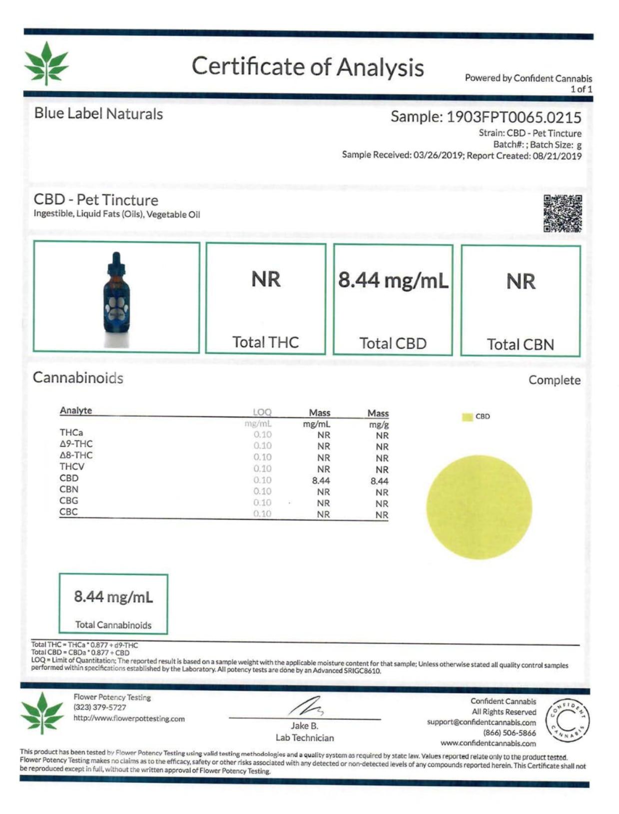 Blue Label CBD Pet Tincture Bacon Lab Report
