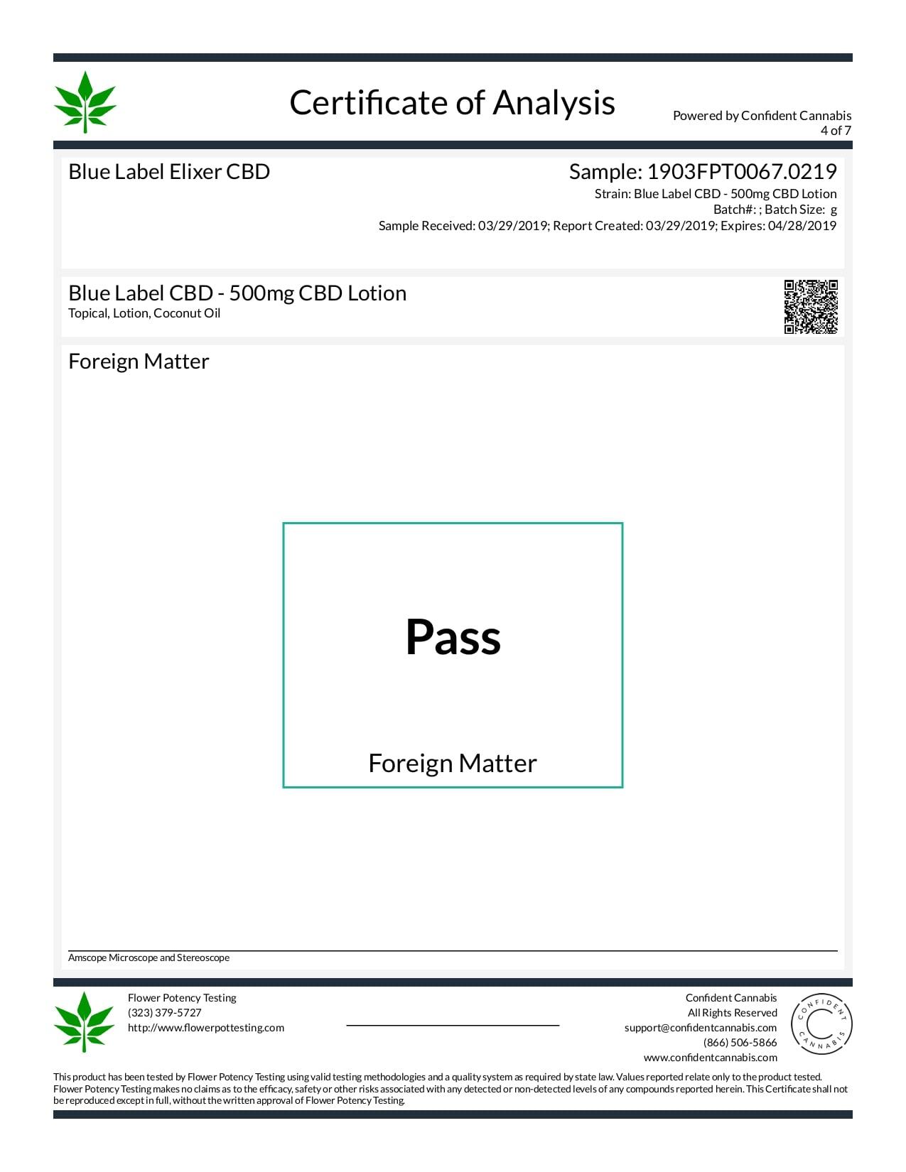 Blue Label CBD Topical Hemp Body Lotion 500mg Lab Report