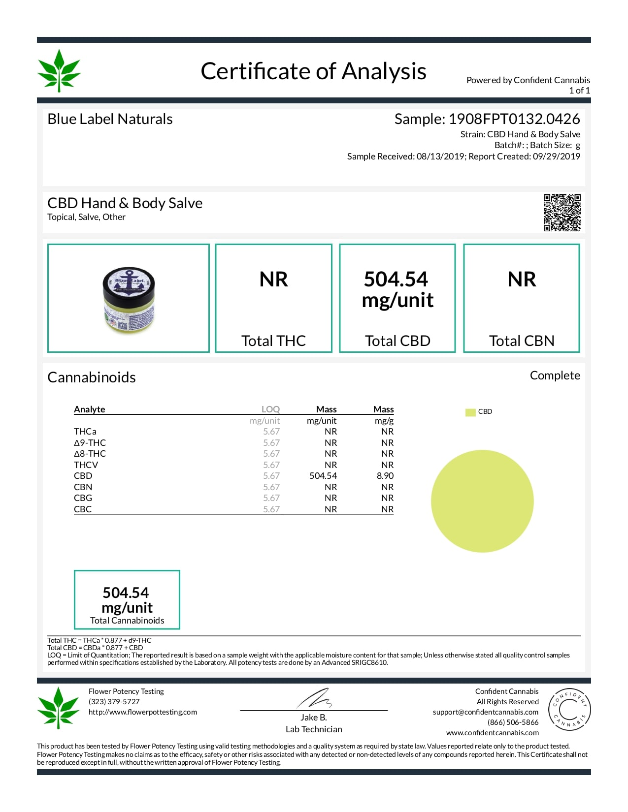Blue Label CBD Topical Hand and Body Salve Lab Report