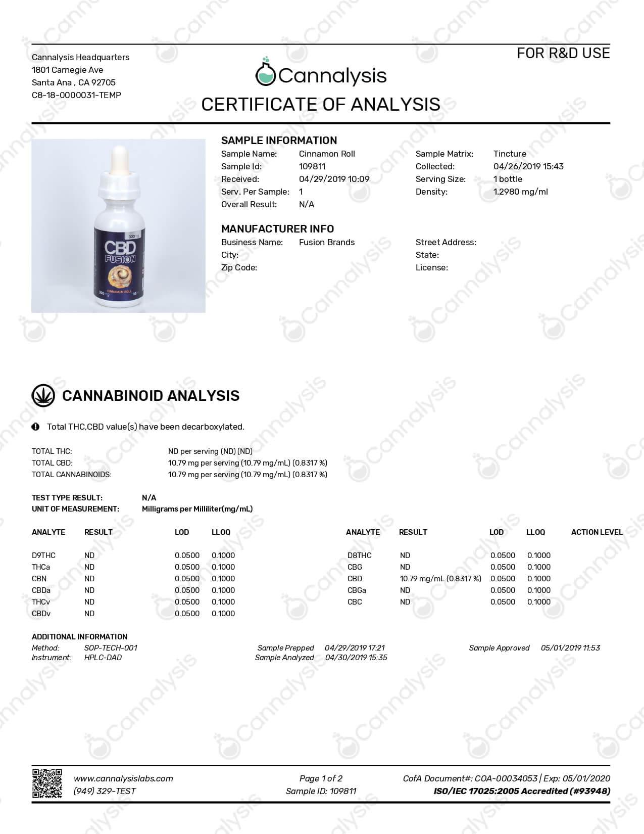 CBD Fusion CBD Vape Cinnamon Roll 300mg Lab Report