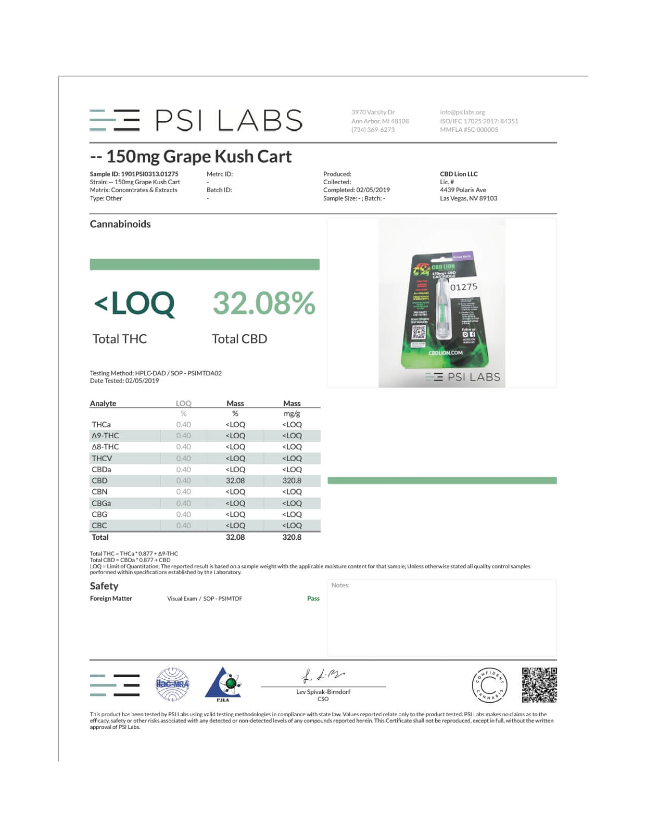 CBD Lion CBD Cartridge Grape Kush 150mg Lab Report